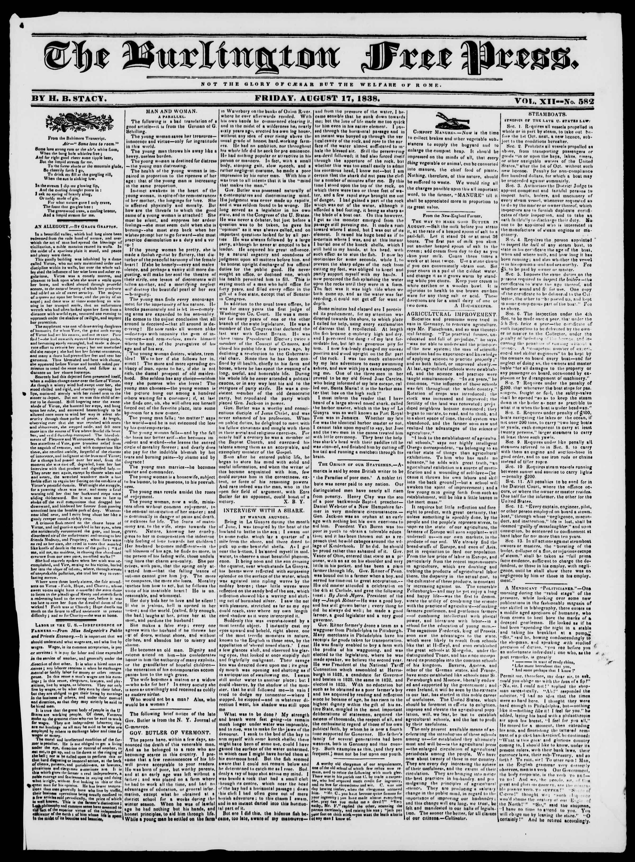 Newspaper of Burlington Free Press dated August 17, 1838 Page 1