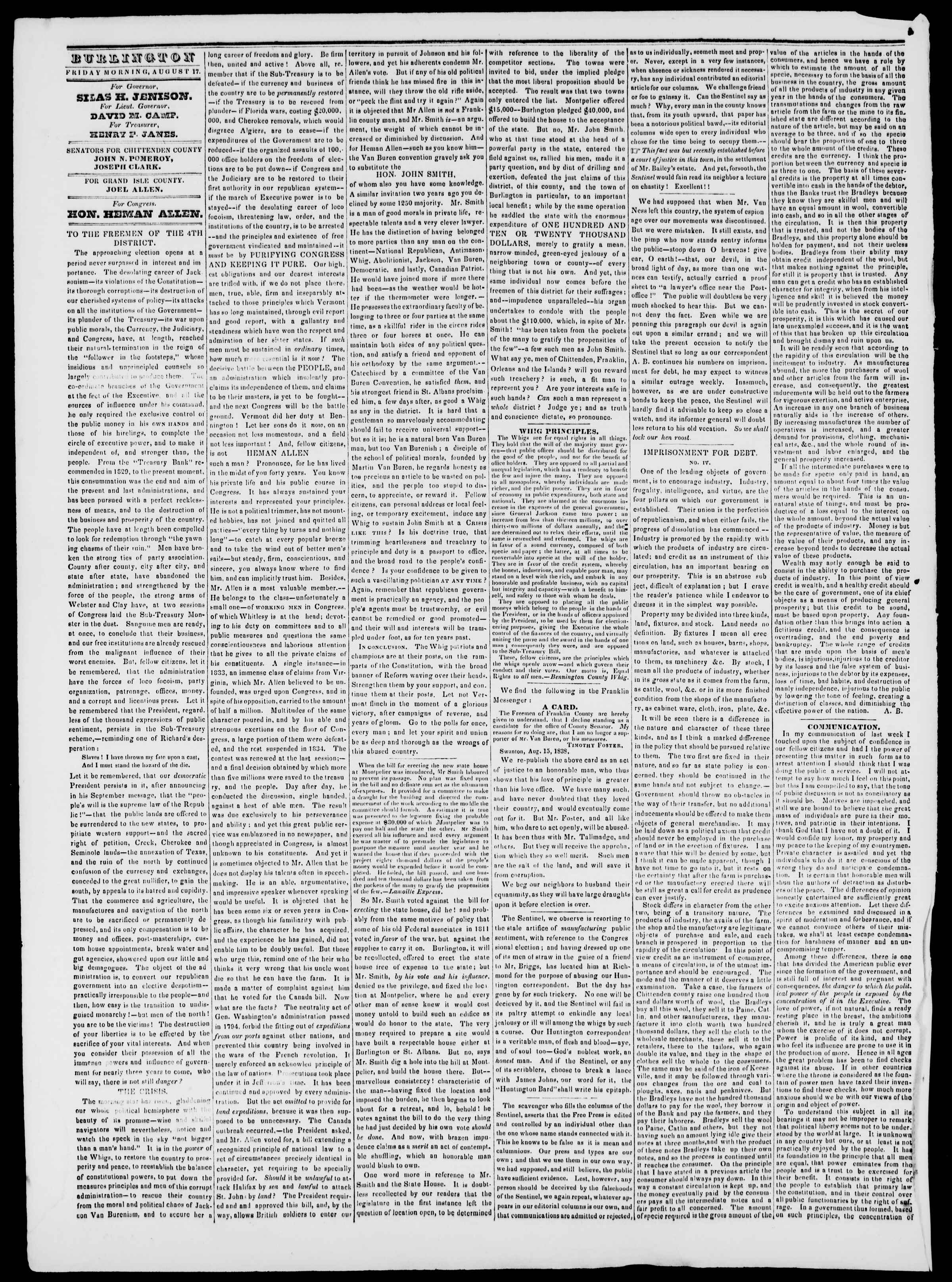 Newspaper of Burlington Free Press dated August 17, 1838 Page 2
