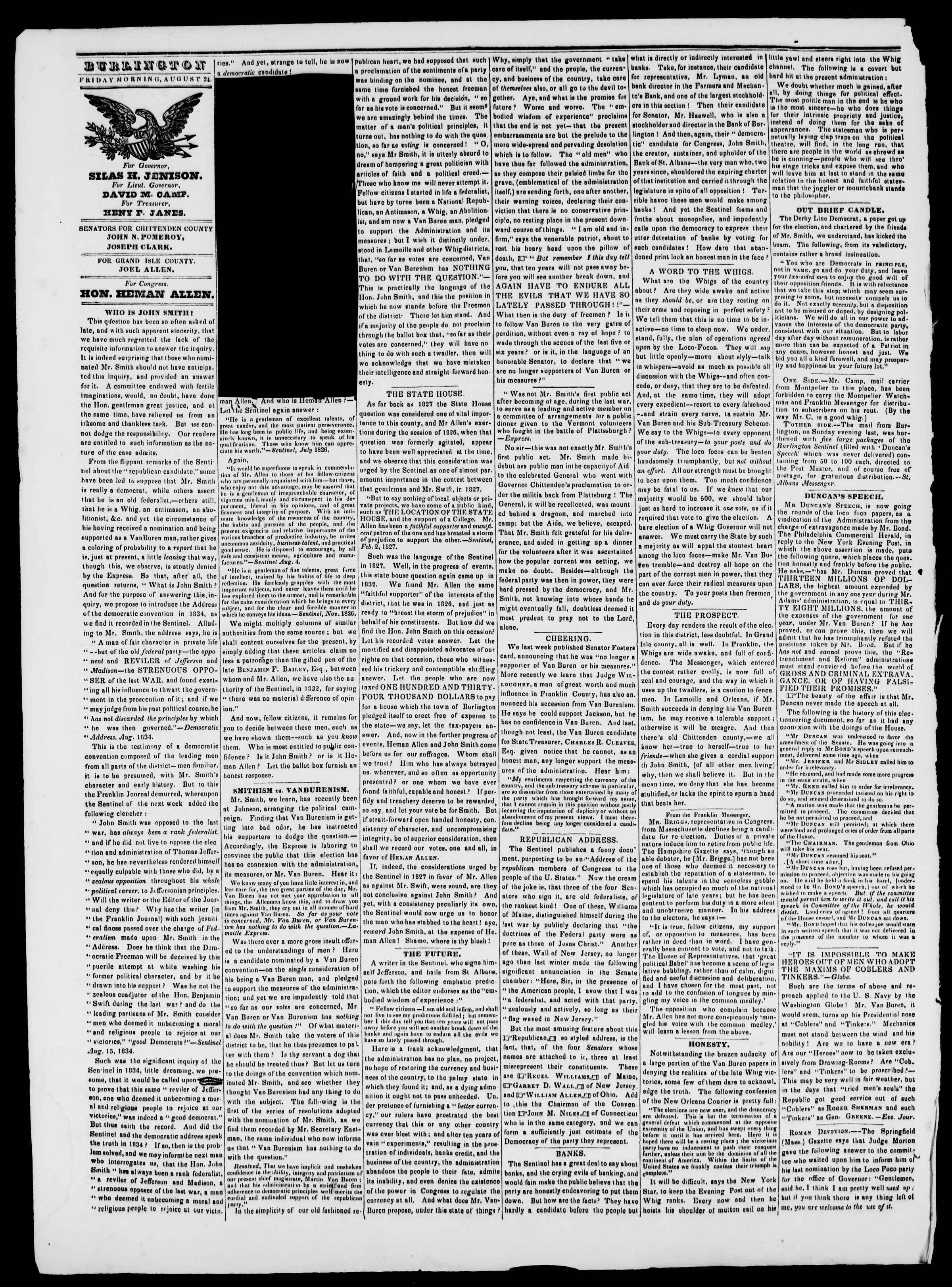 24 Ağustos 1838 tarihli Burlington Free Press Gazetesi Sayfa 2