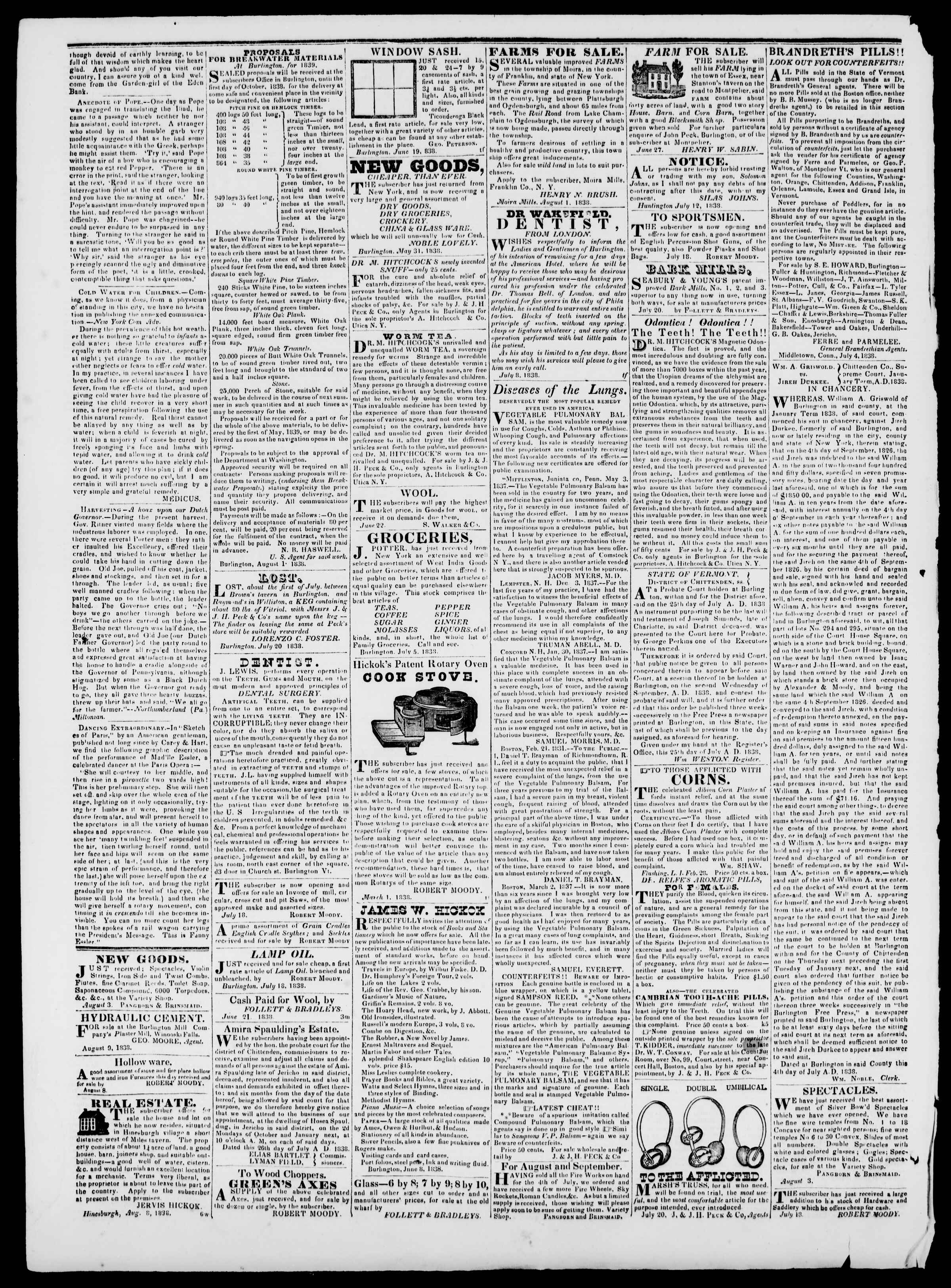 Newspaper of Burlington Free Press dated August 24, 1838 Page 4