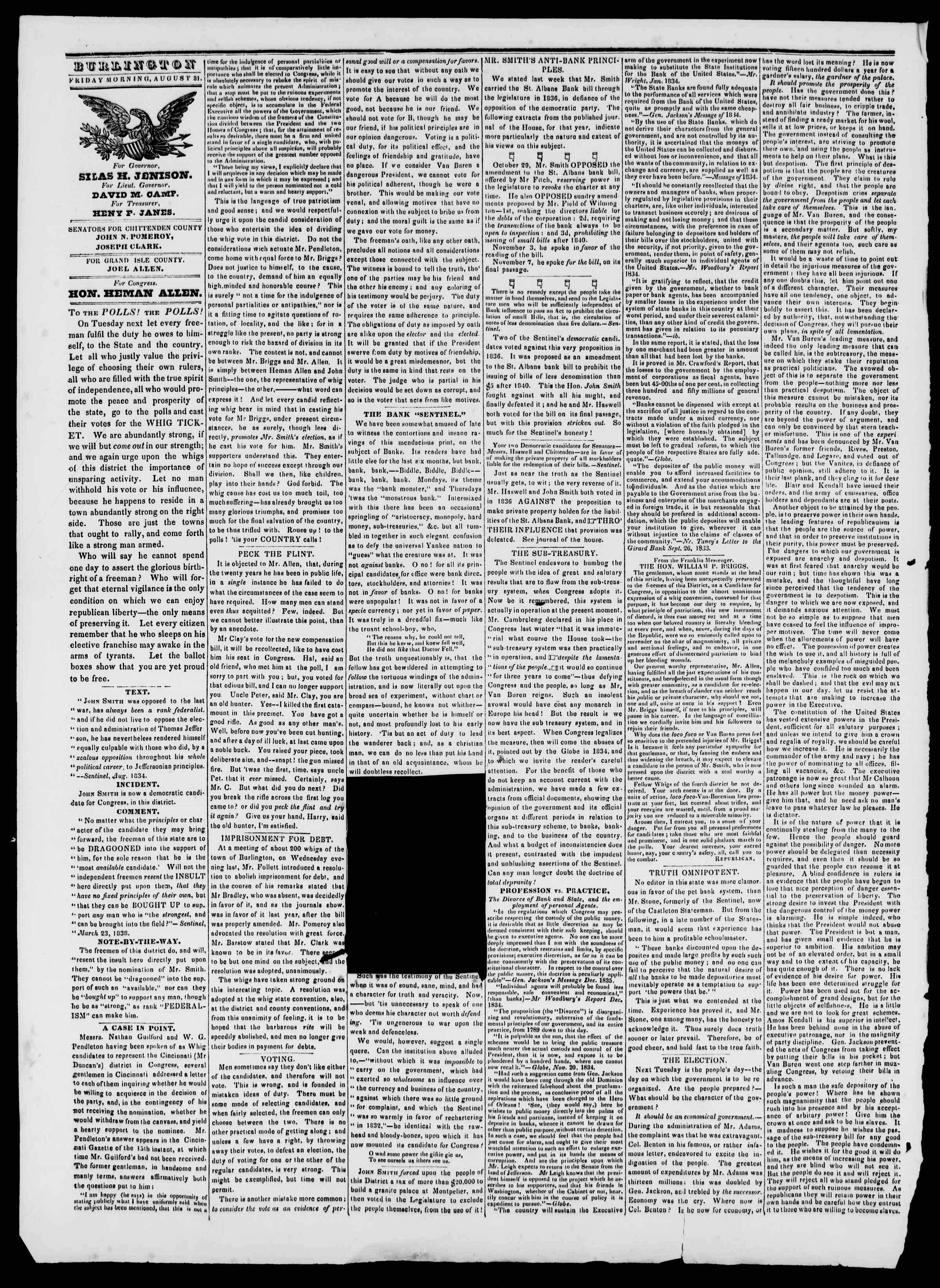 Newspaper of Burlington Free Press dated August 31, 1838 Page 2