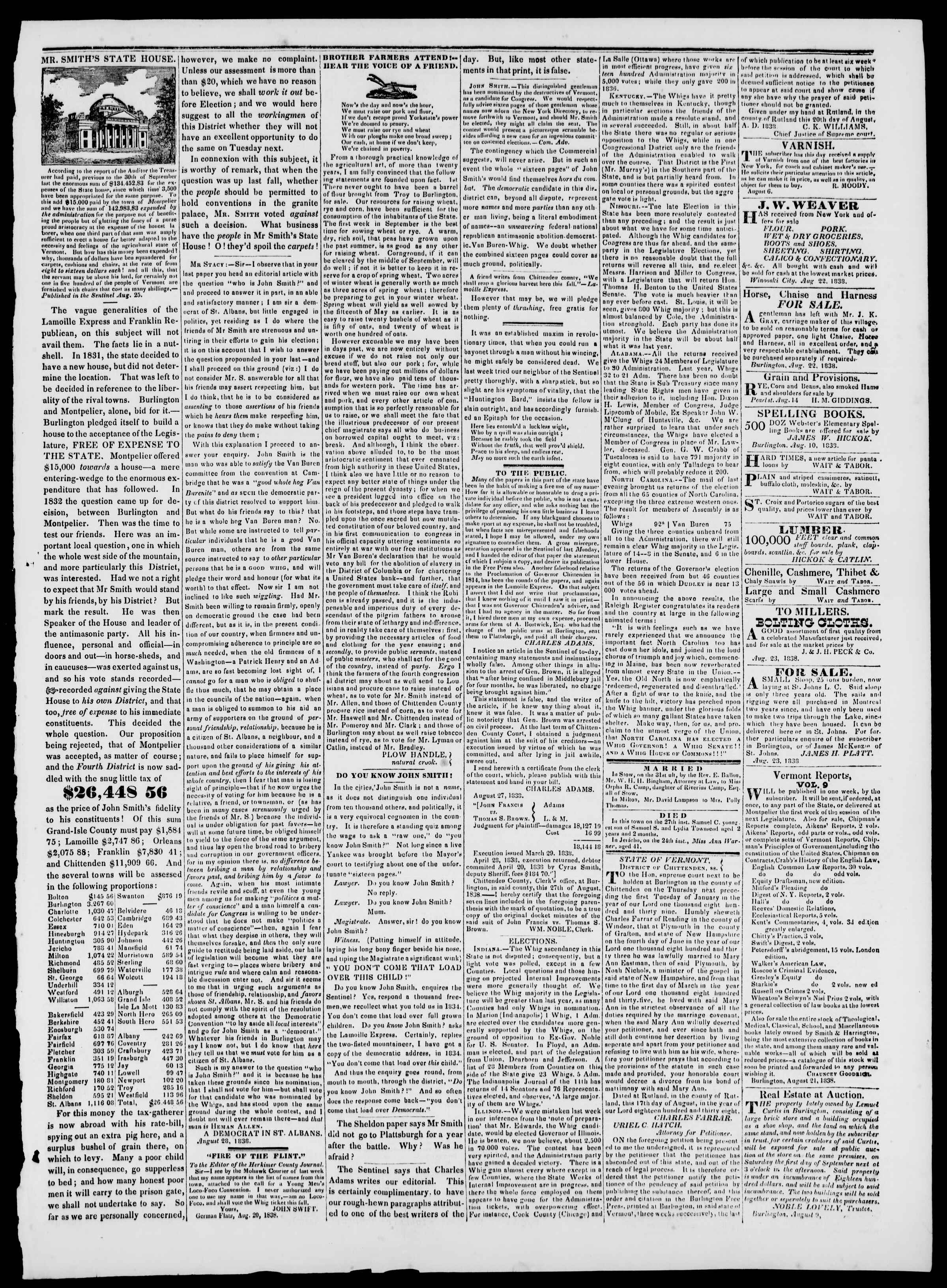 Newspaper of Burlington Free Press dated August 31, 1838 Page 3