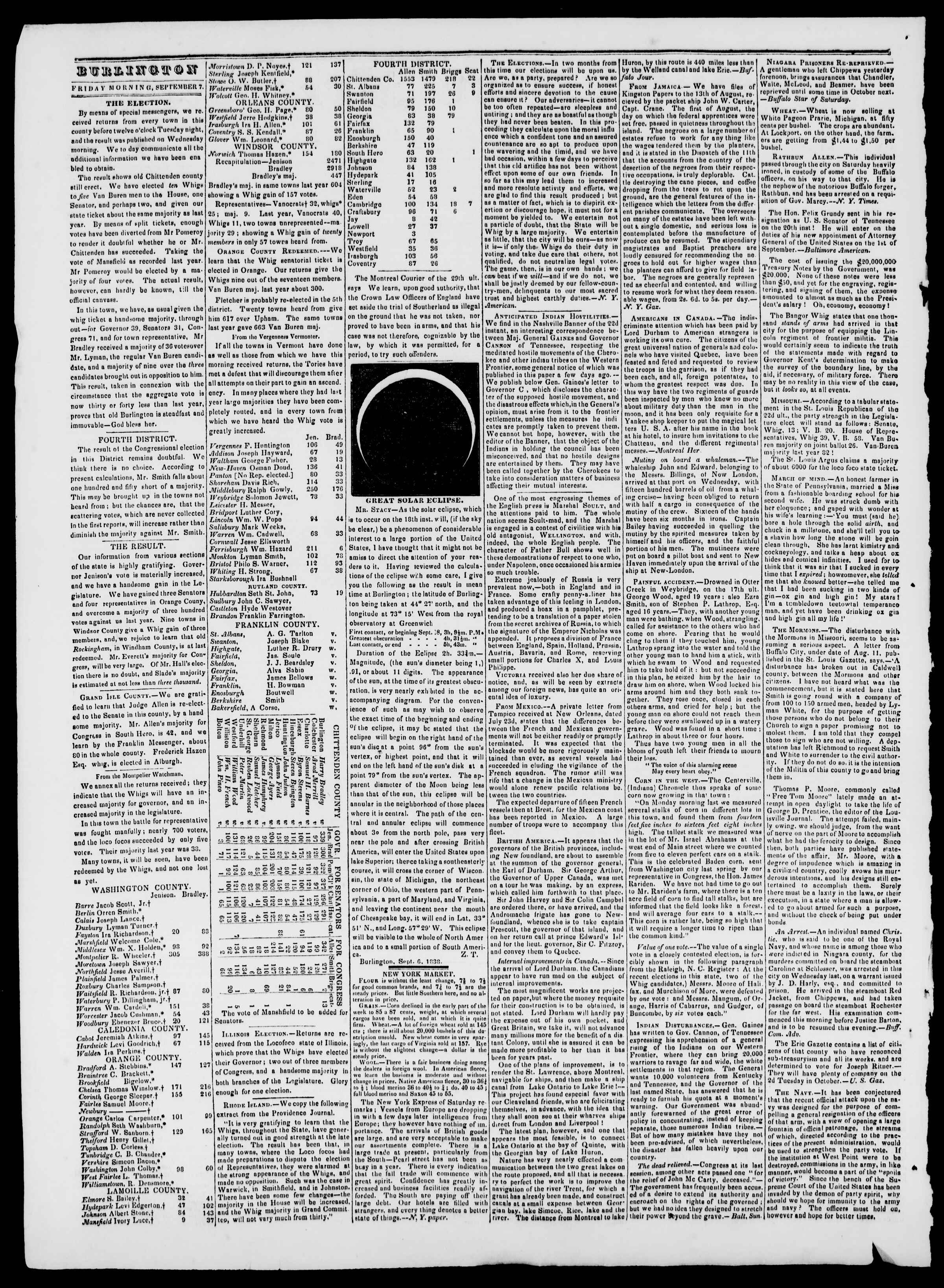 Newspaper of Burlington Free Press dated September 7, 1838 Page 2