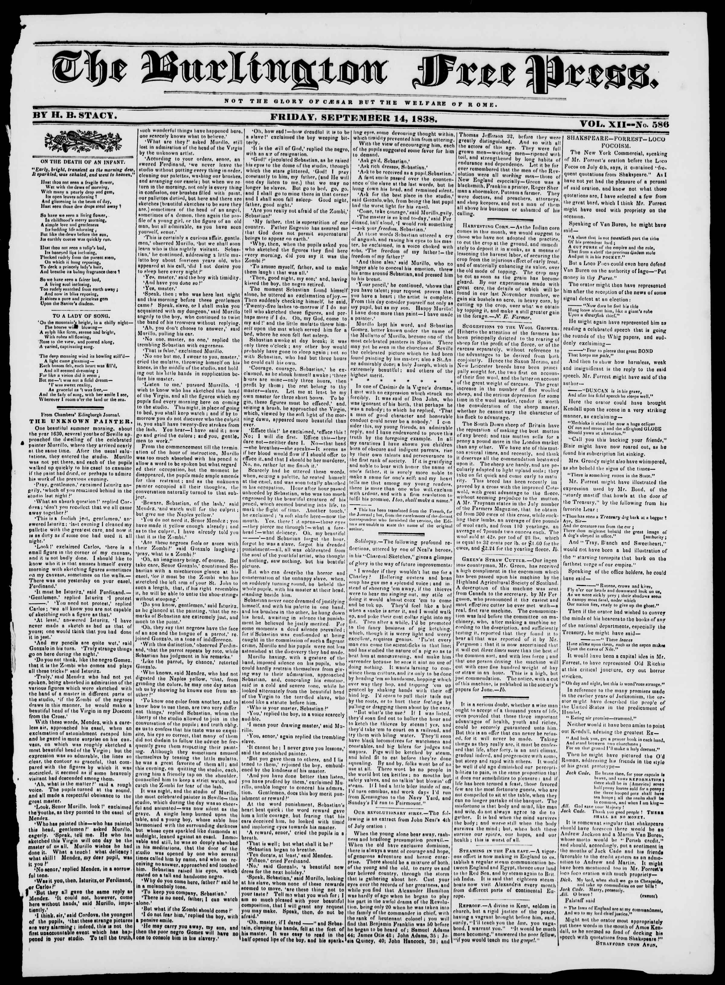 Newspaper of Burlington Free Press dated September 14, 1838 Page 1
