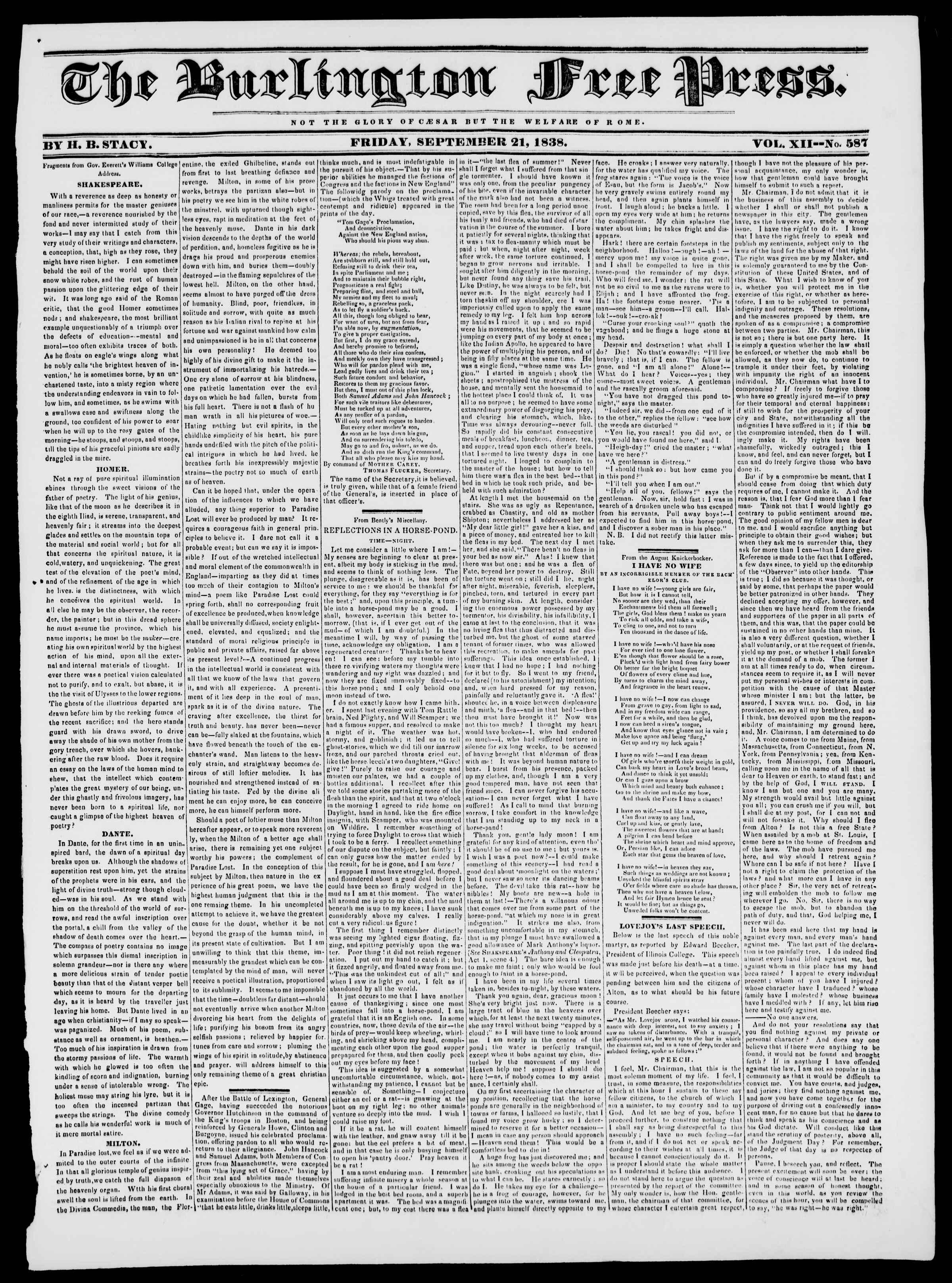 Newspaper of Burlington Free Press dated September 21, 1838 Page 1
