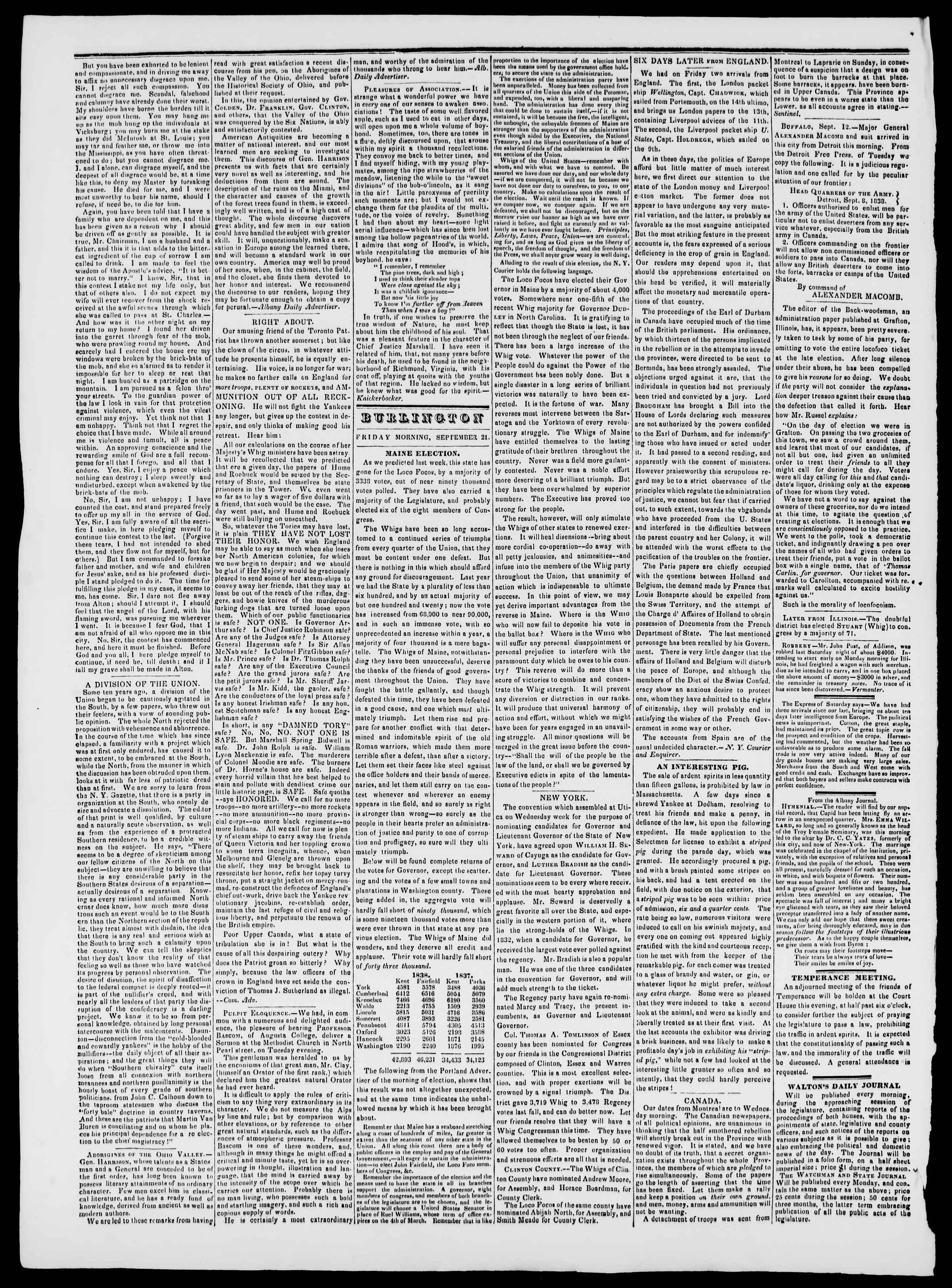 Newspaper of Burlington Free Press dated 21 Eylül 1838 Page 2