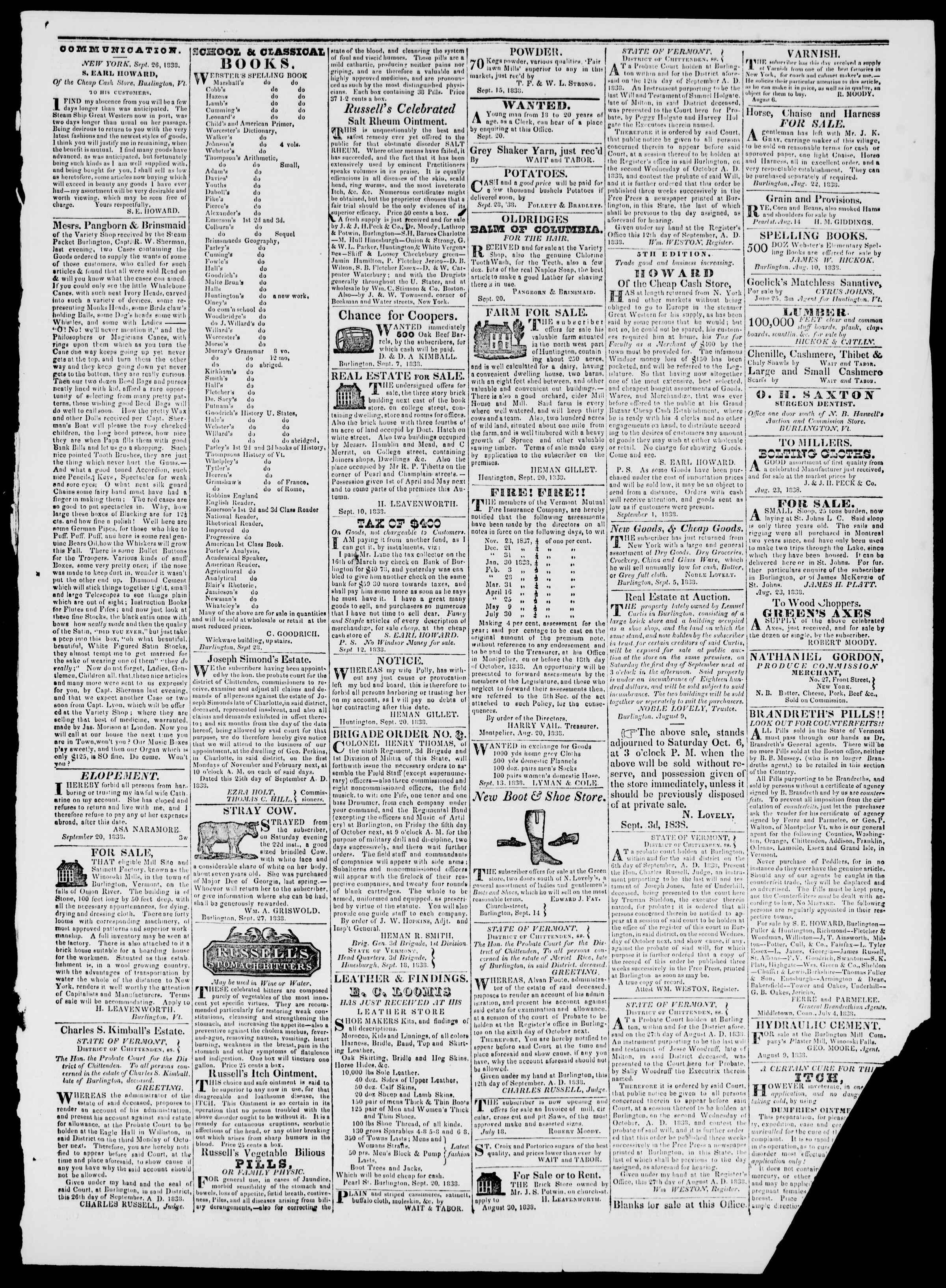 Newspaper of Burlington Free Press dated September 28, 1838 Page 3