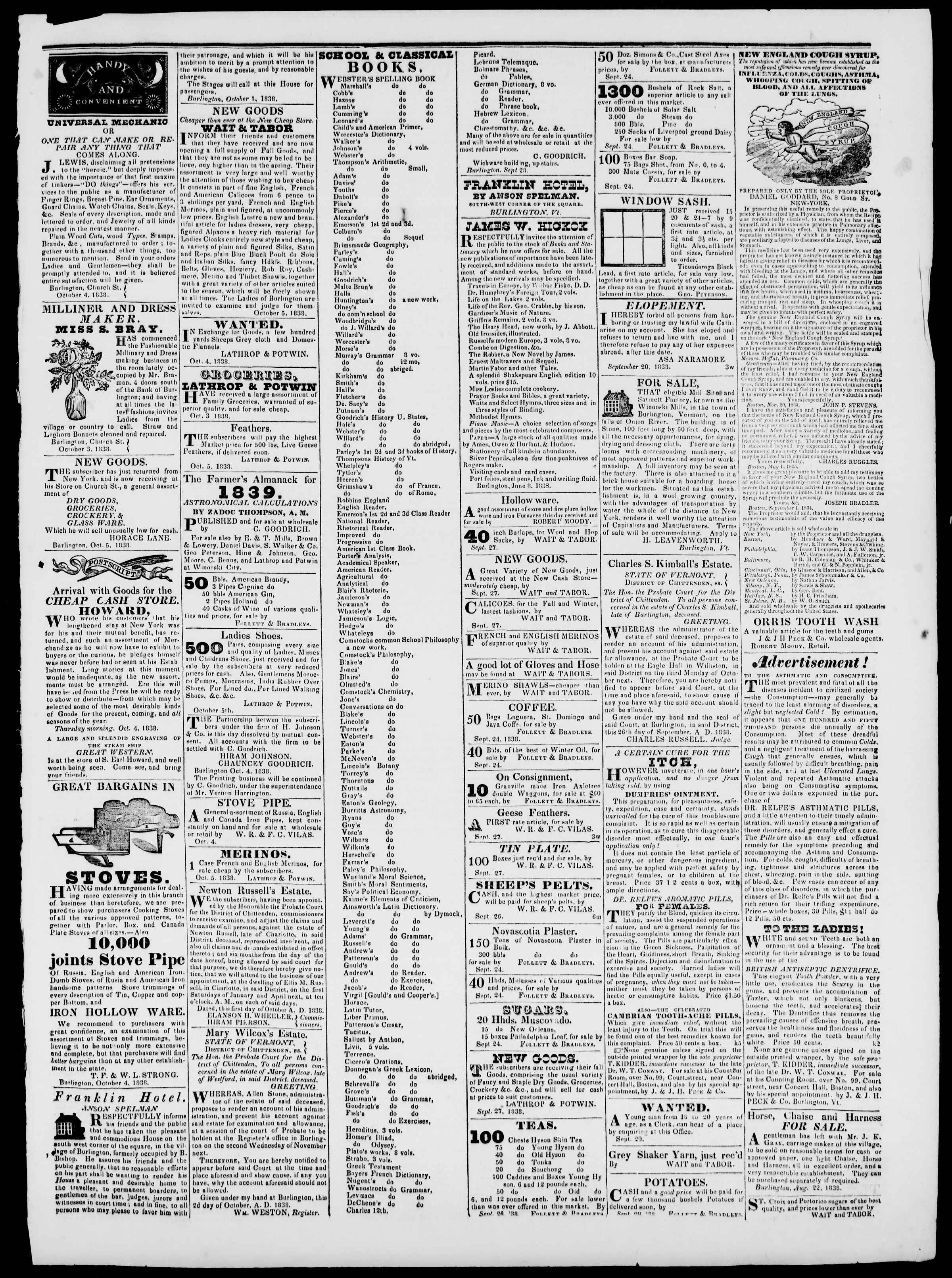 Newspaper of Burlington Free Press dated October 5, 1838 Page 3