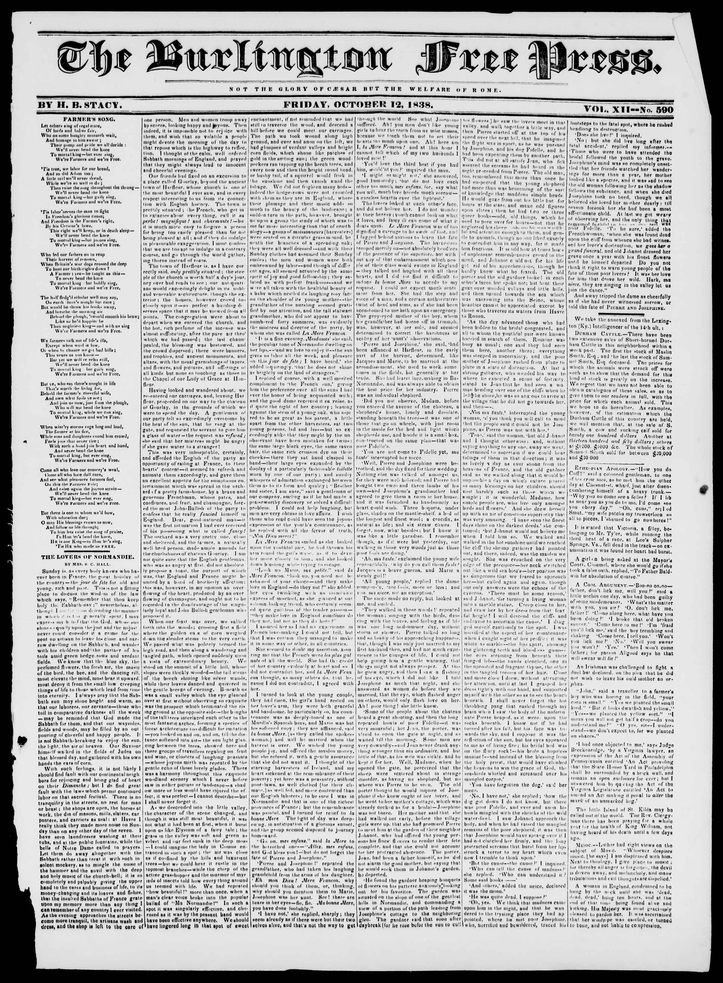 Newspaper of Burlington Free Press dated October 12, 1838 Page 1