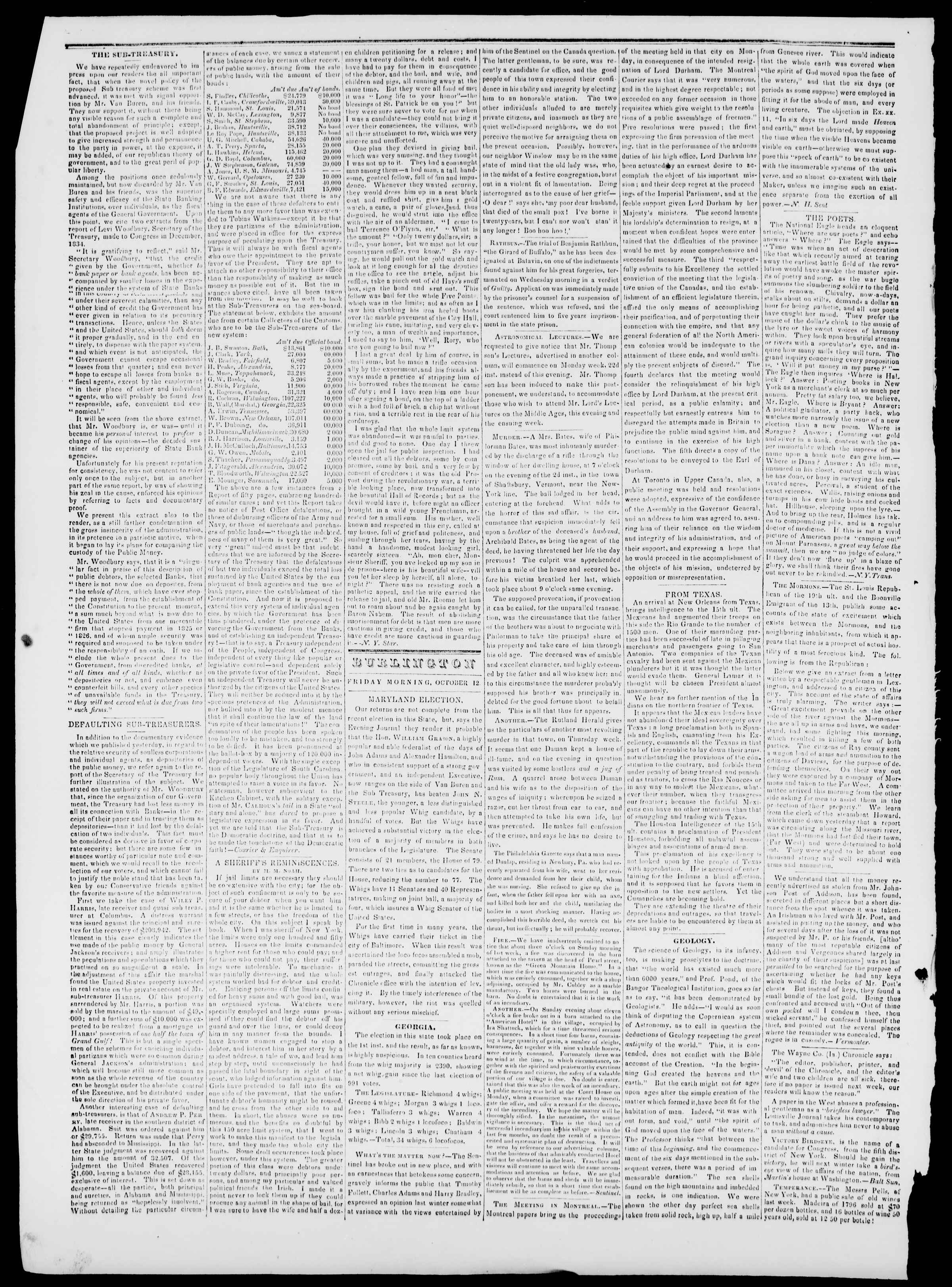 Newspaper of Burlington Free Press dated October 12, 1838 Page 2