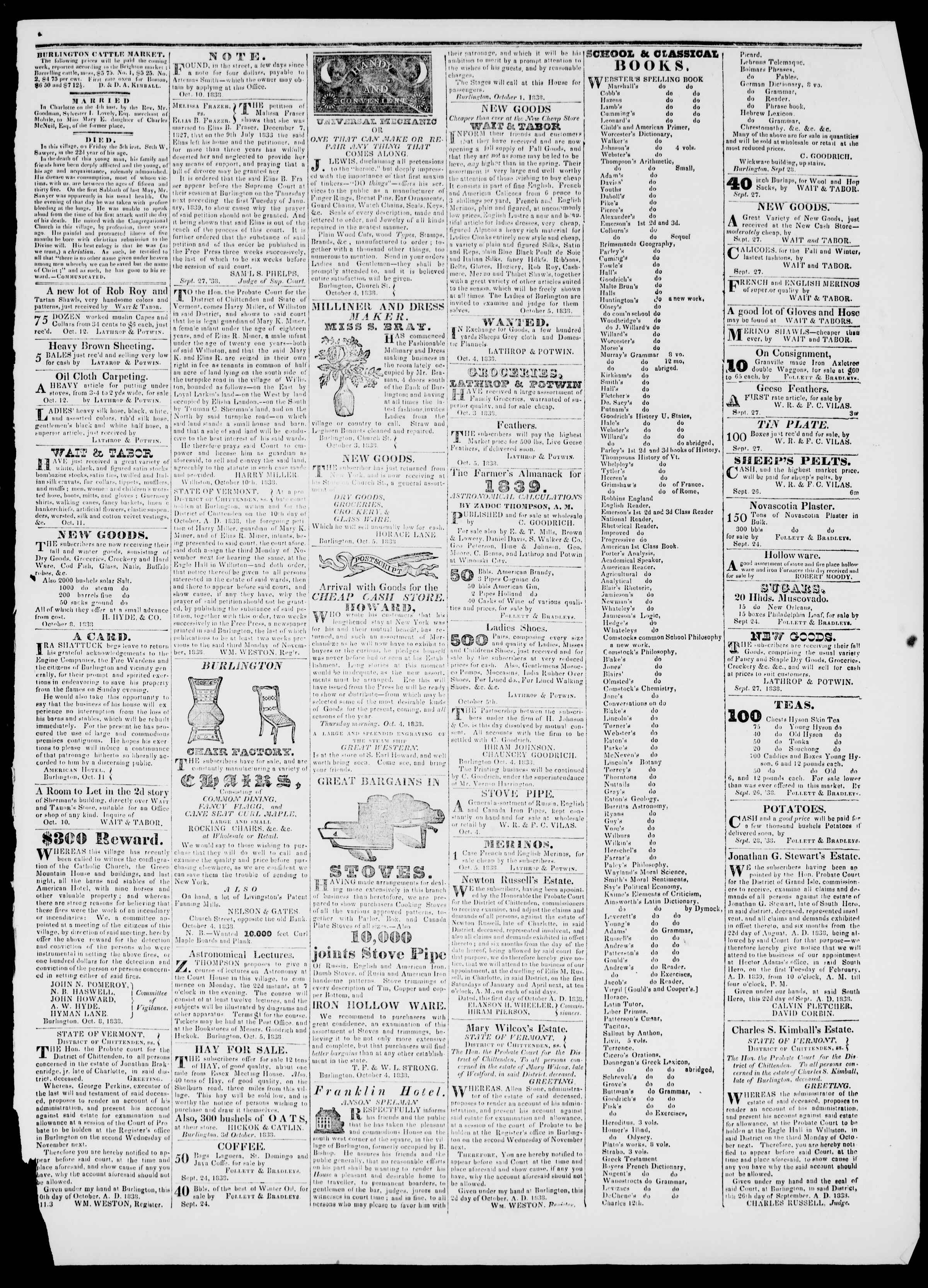 Newspaper of Burlington Free Press dated October 12, 1838 Page 3
