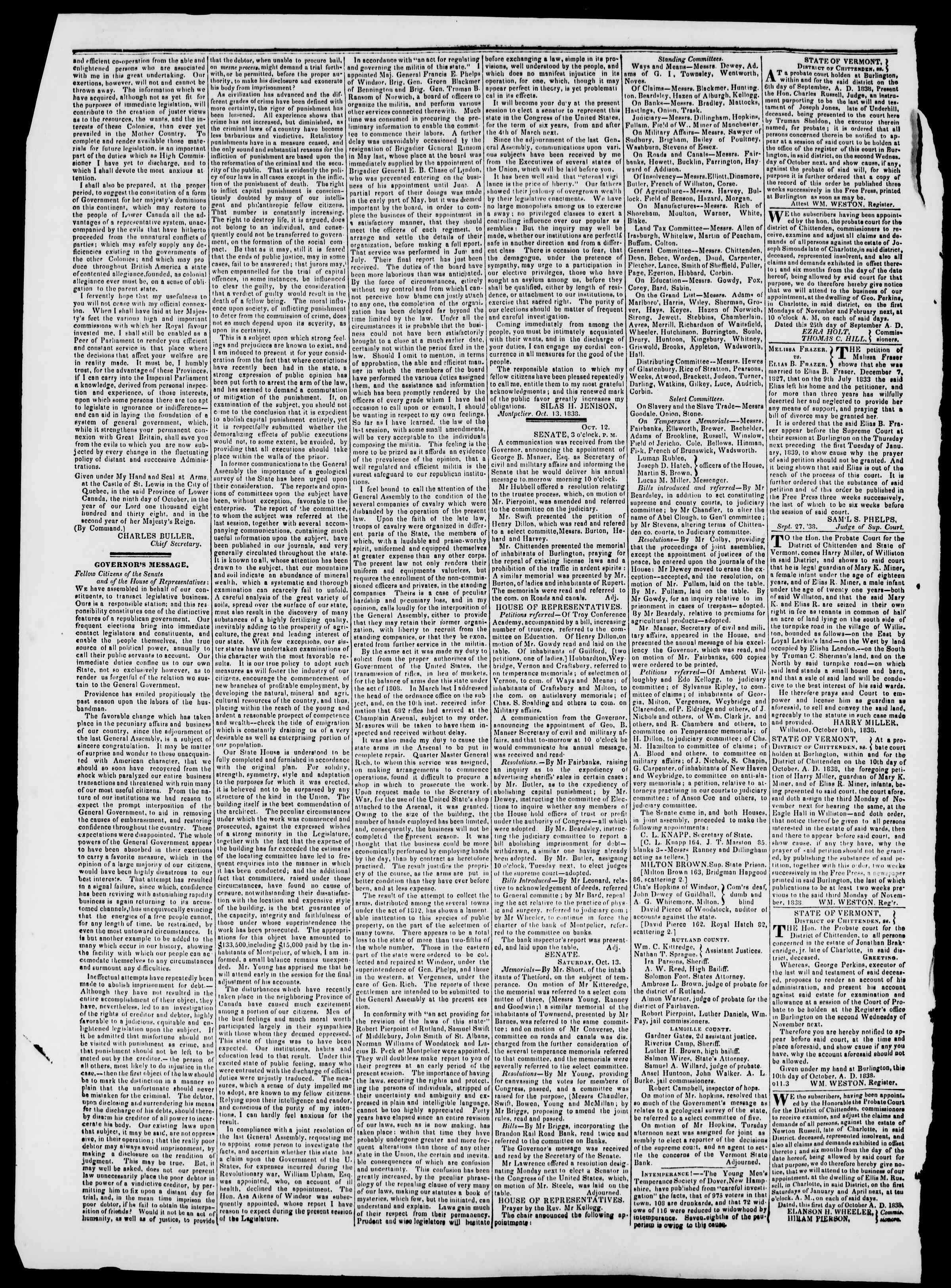 Newspaper of Burlington Free Press dated October 19, 1838 Page 2