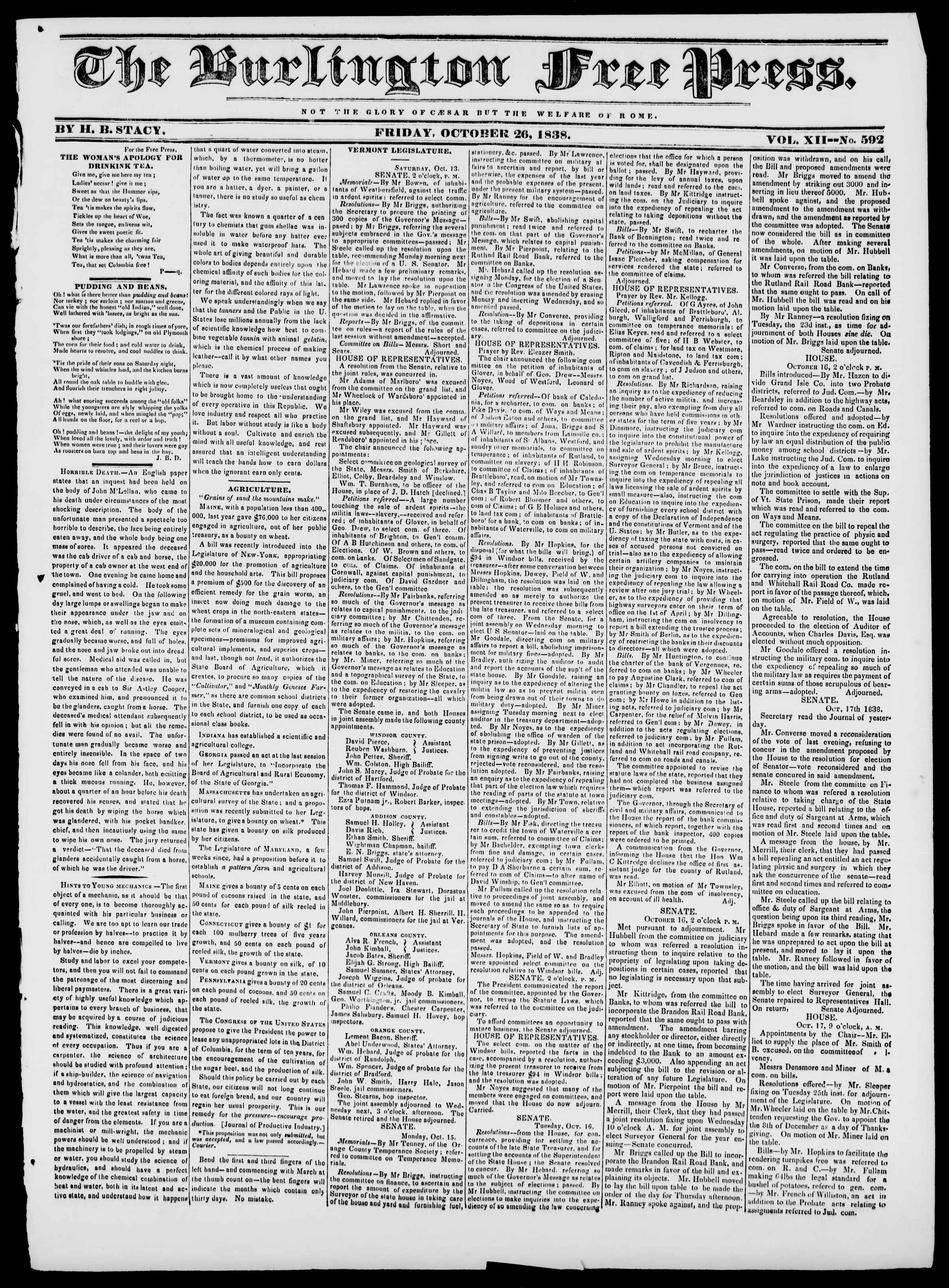 Newspaper of Burlington Free Press dated October 26, 1838 Page 1