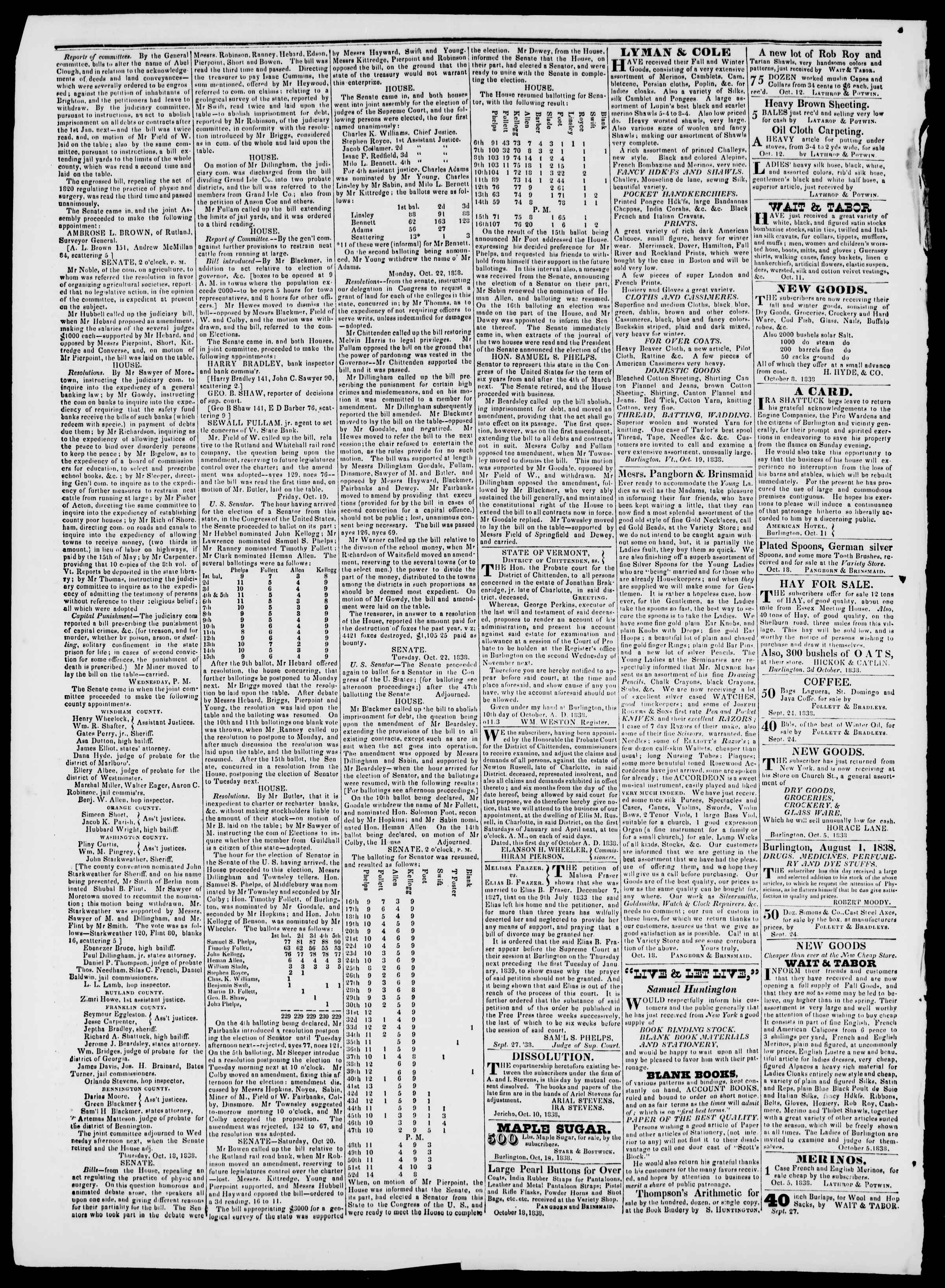Newspaper of Burlington Free Press dated October 26, 1838 Page 2