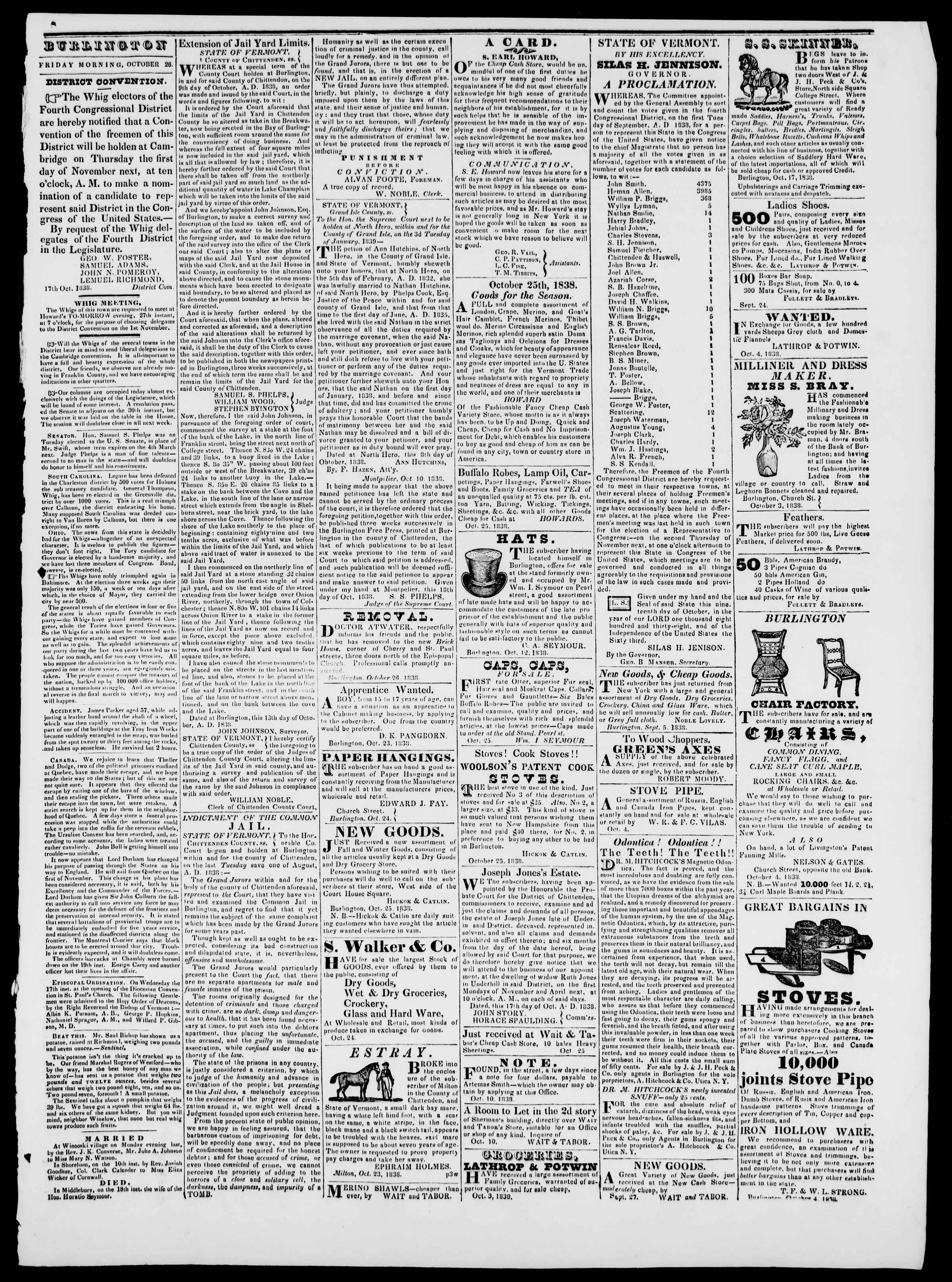 Newspaper of Burlington Free Press dated October 26, 1838 Page 3