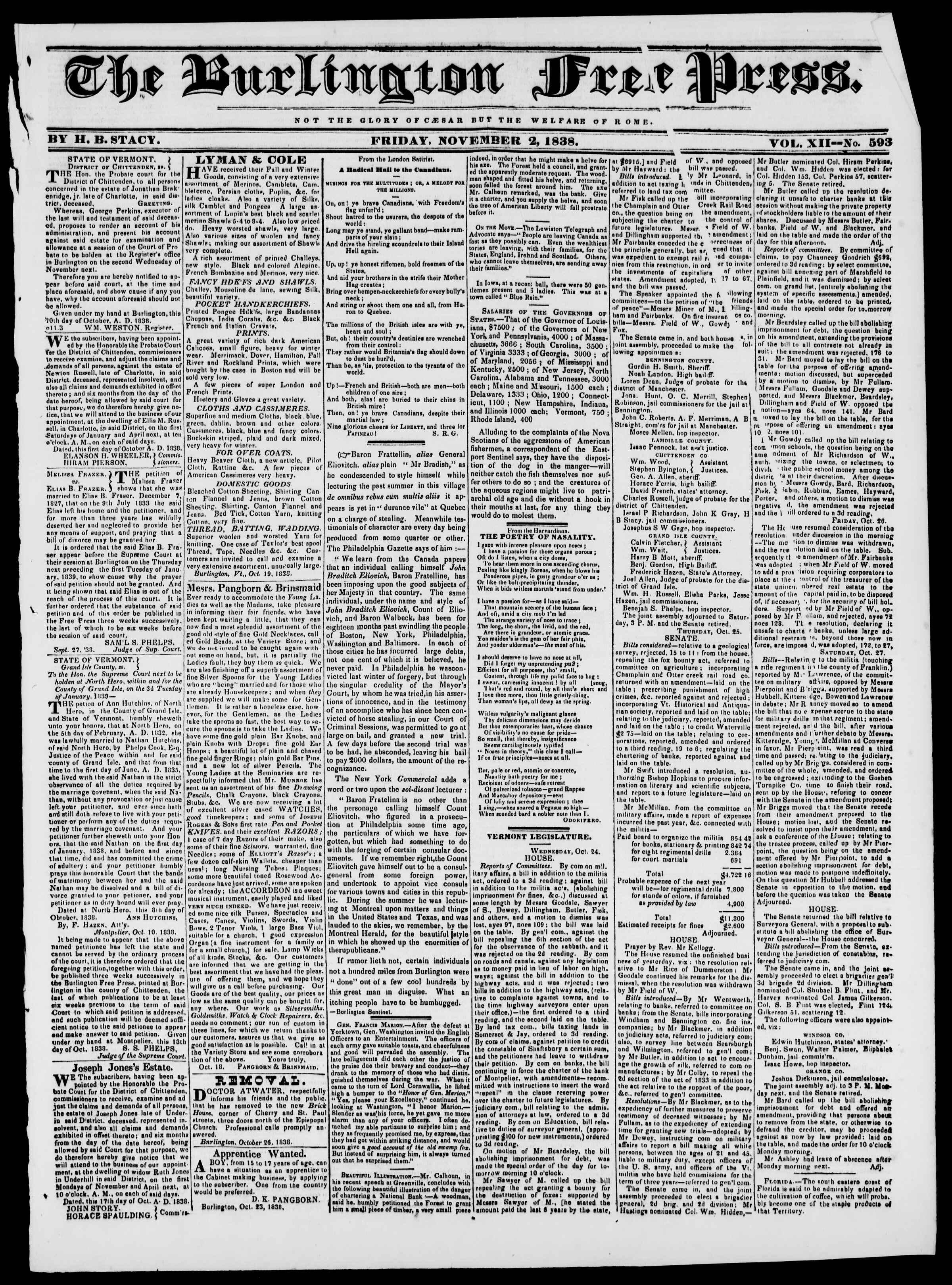 Newspaper of Burlington Free Press dated November 2, 1838 Page 1