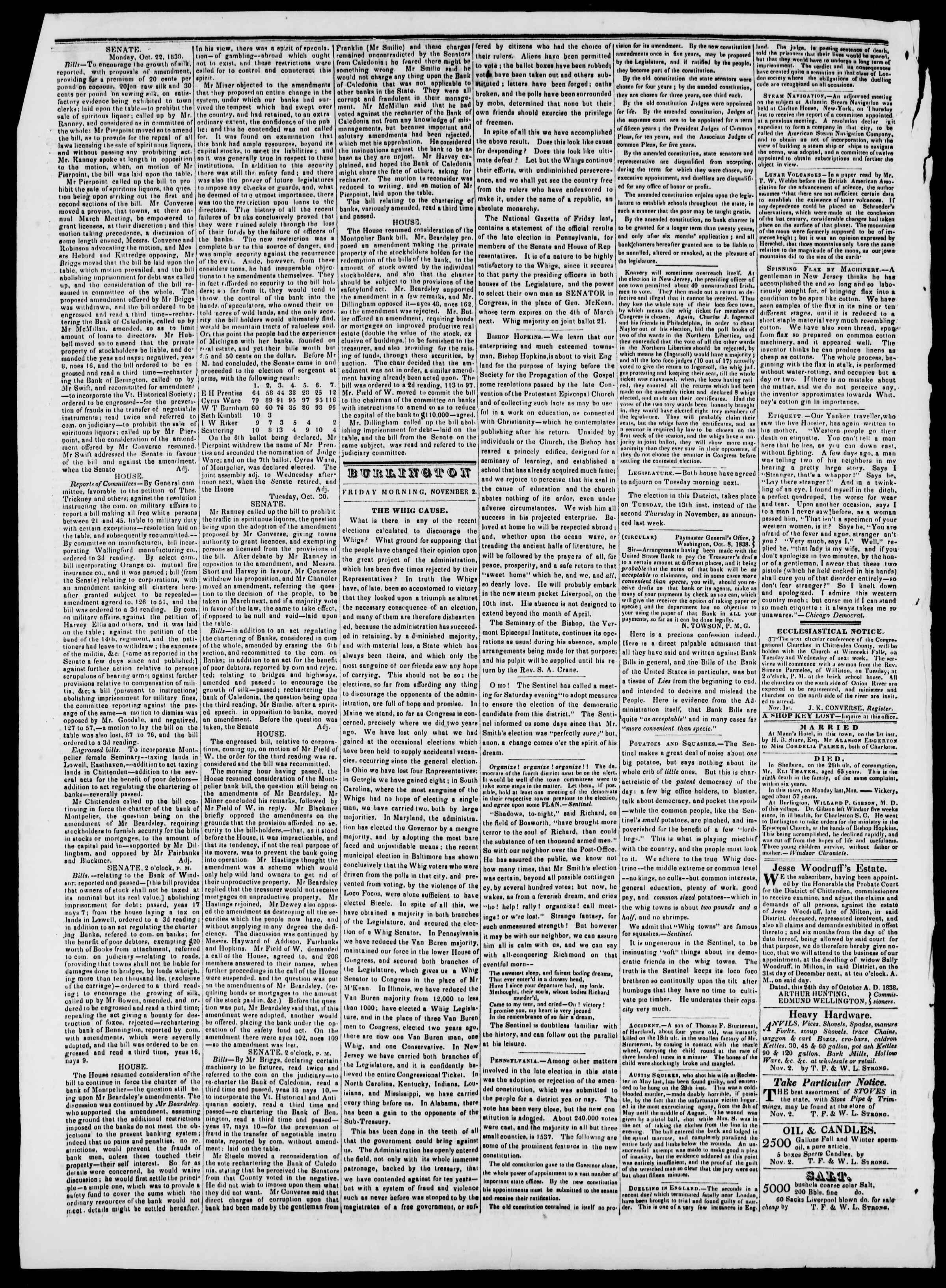 Newspaper of Burlington Free Press dated November 2, 1838 Page 2