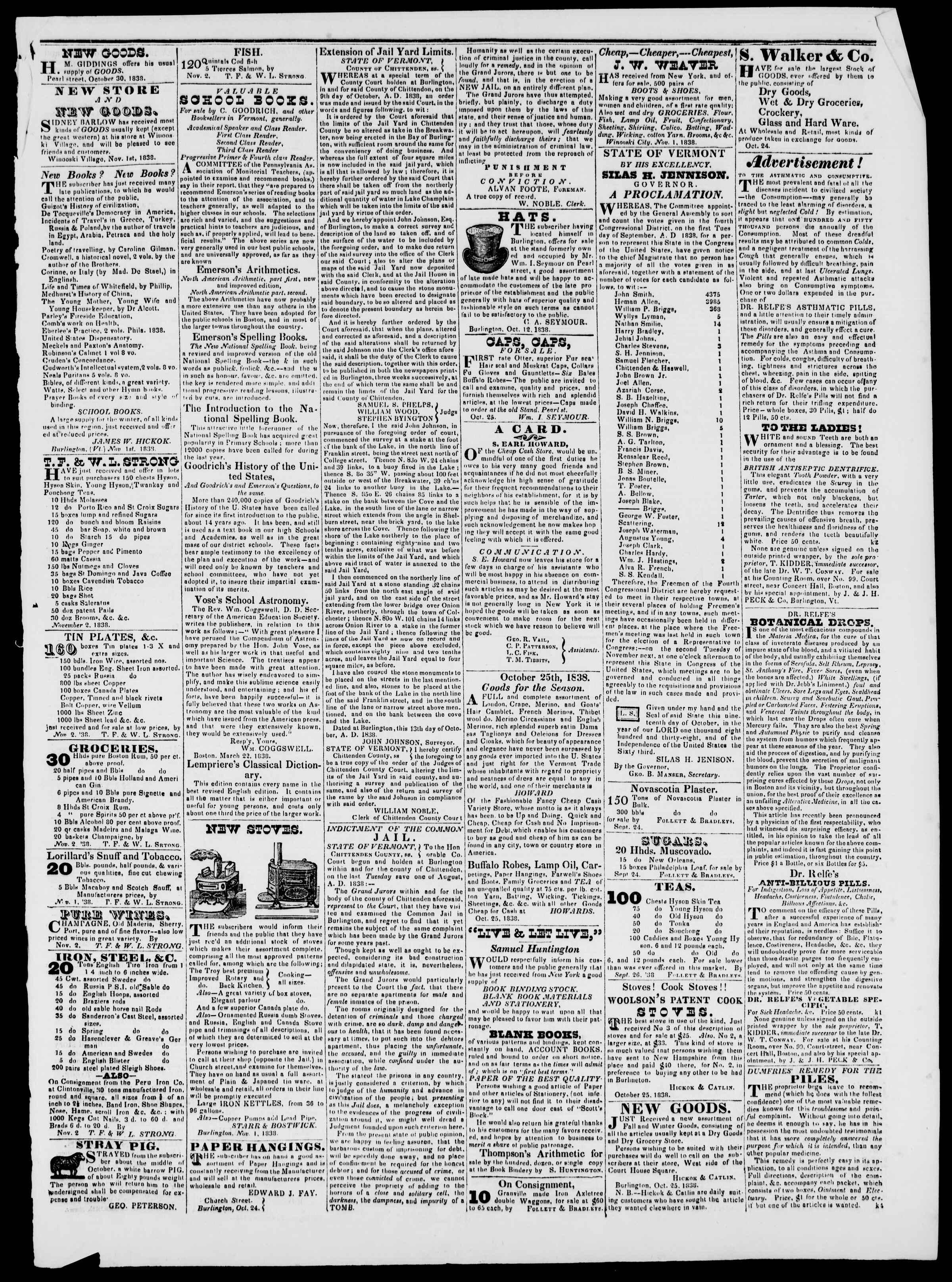 Newspaper of Burlington Free Press dated November 2, 1838 Page 3