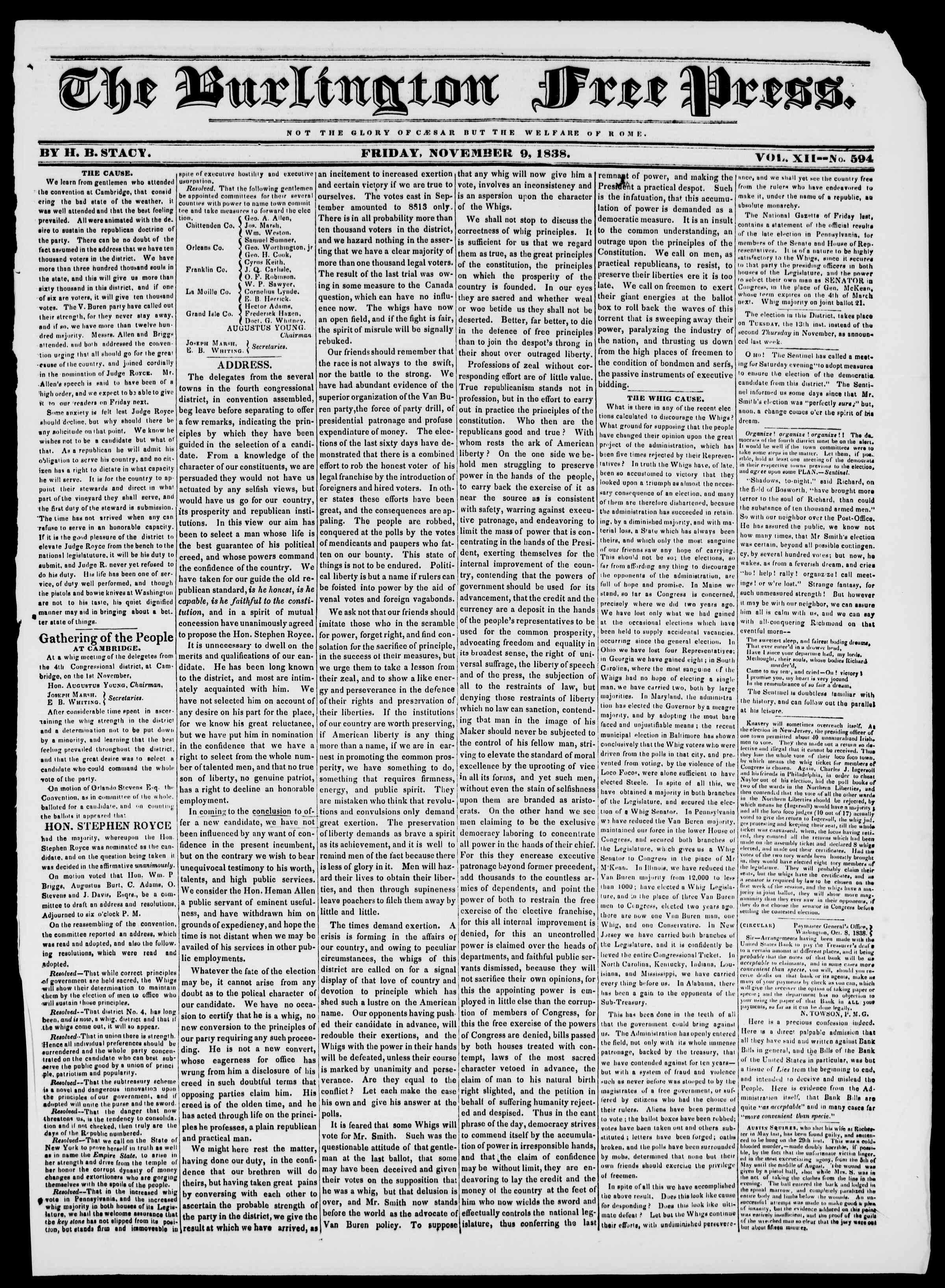 9 Kasım 1838 tarihli Burlington Free Press Gazetesi Sayfa 1