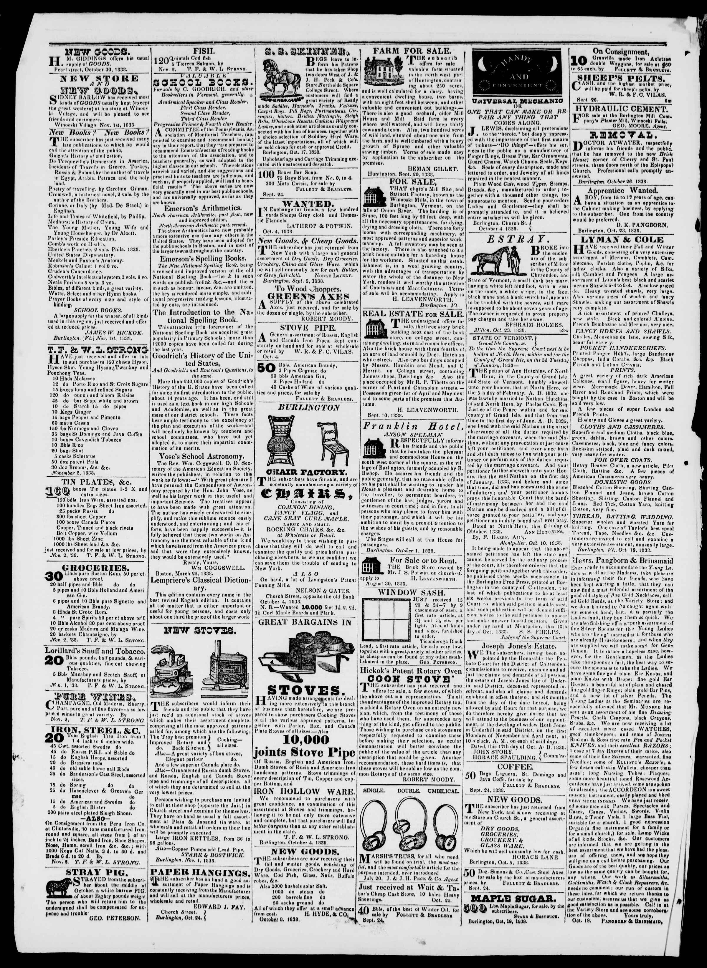 Newspaper of Burlington Free Press dated November 9, 1838 Page 4