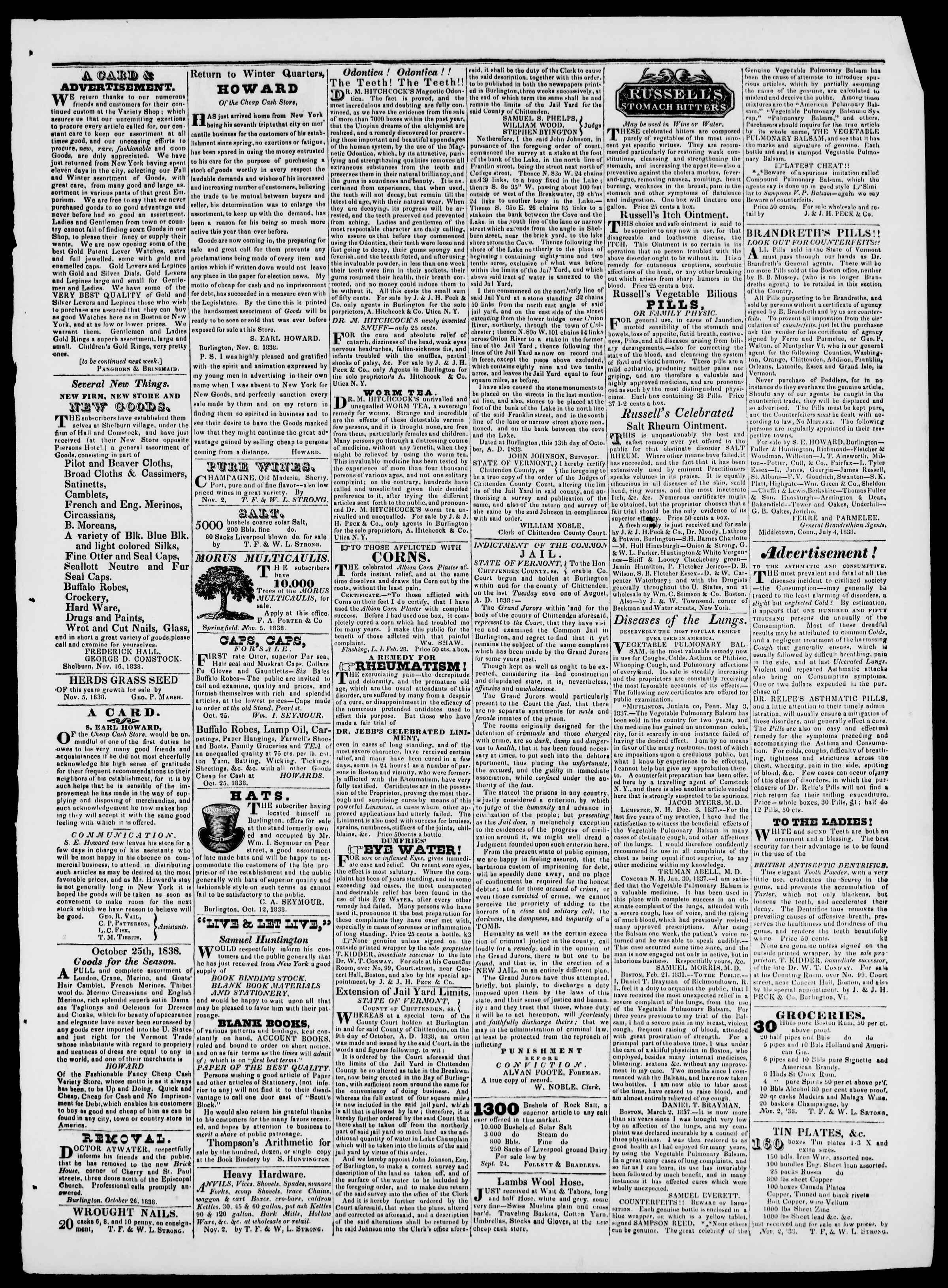 Newspaper of Burlington Free Press dated November 16, 1838 Page 3