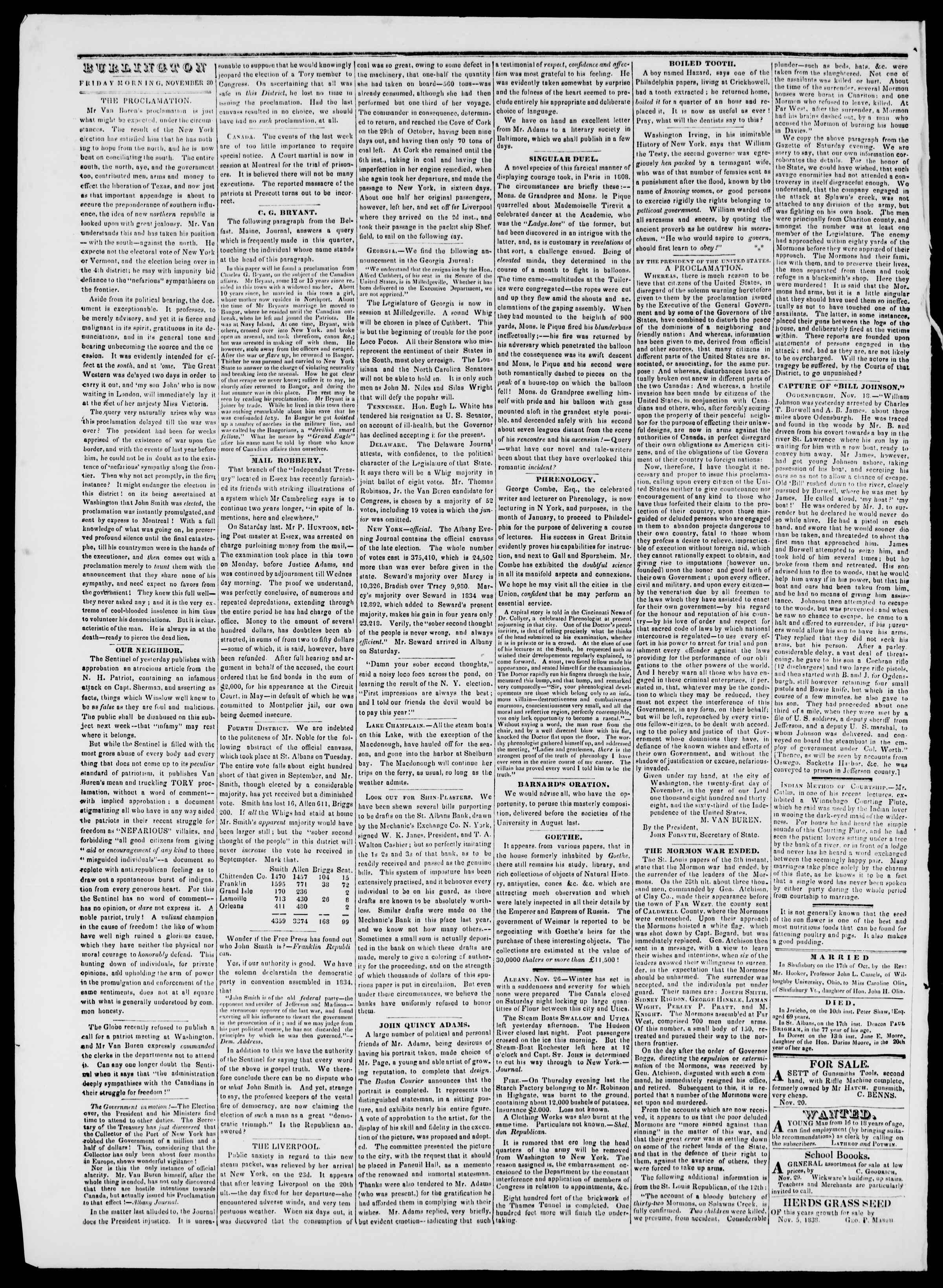 Newspaper of Burlington Free Press dated November 30, 1838 Page 2