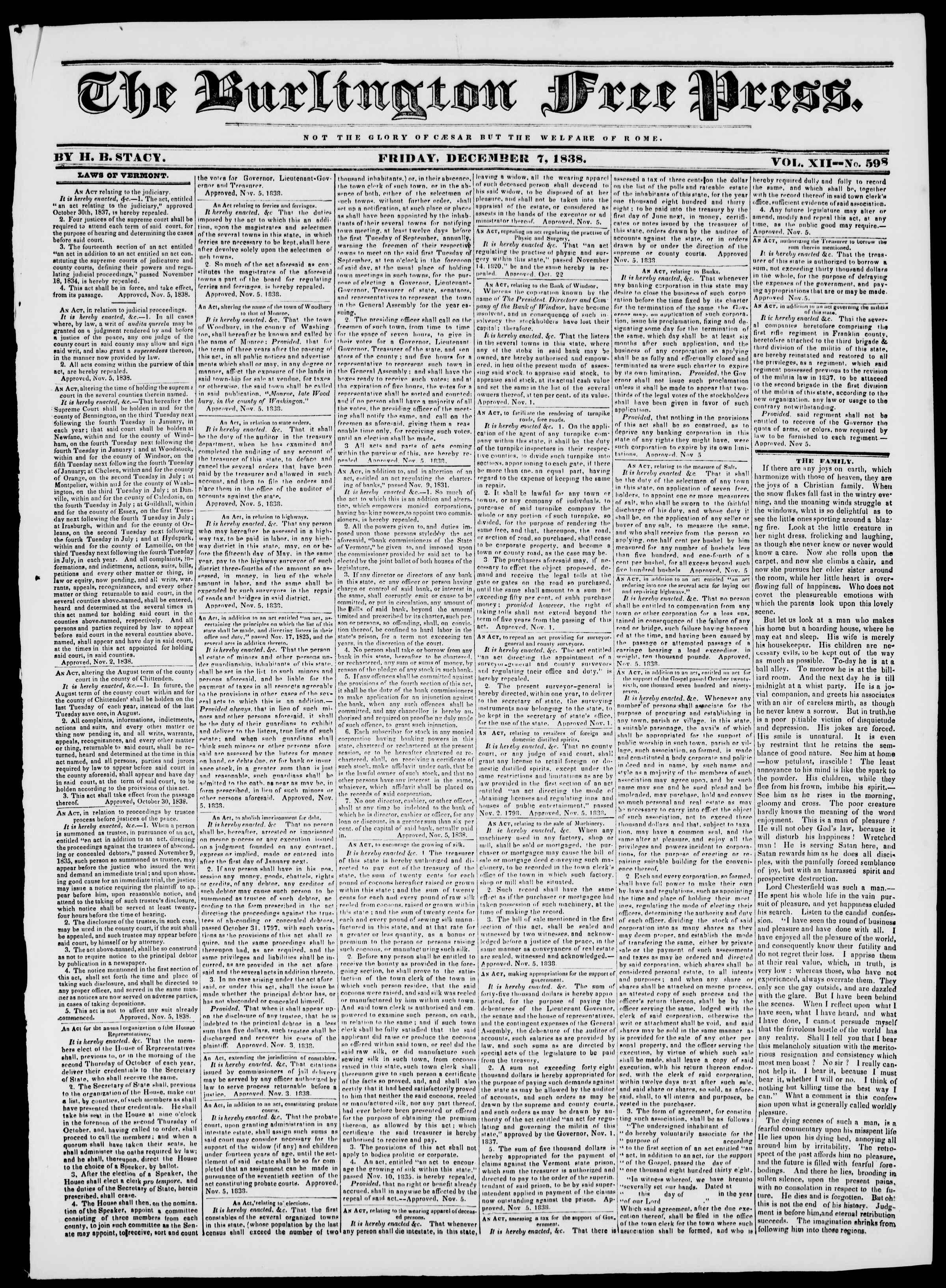 Newspaper of Burlington Free Press dated December 7, 1838 Page 1