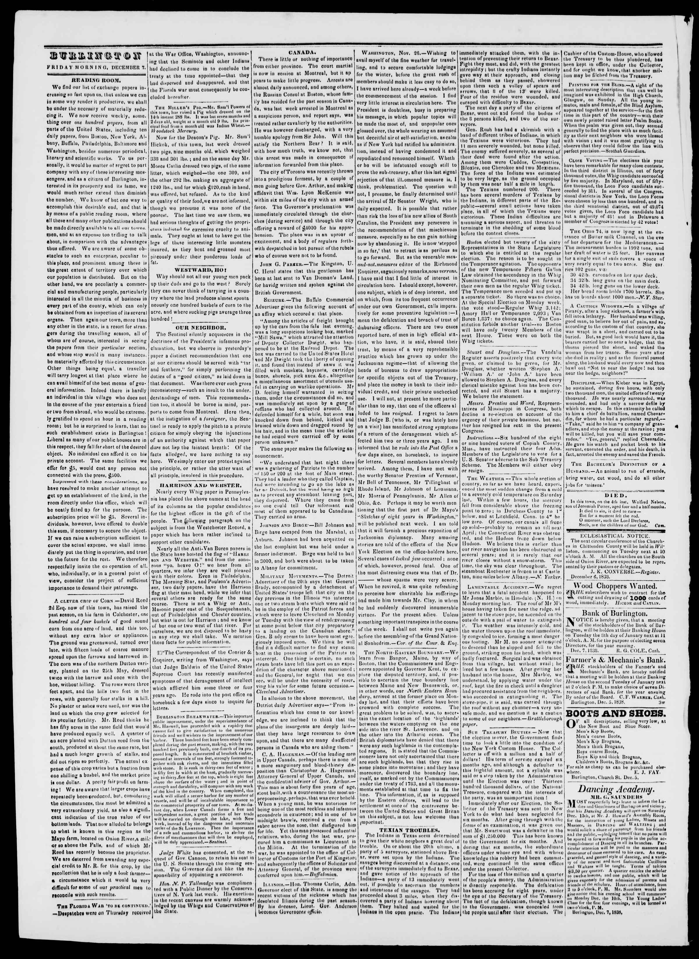 Newspaper of Burlington Free Press dated December 7, 1838 Page 2