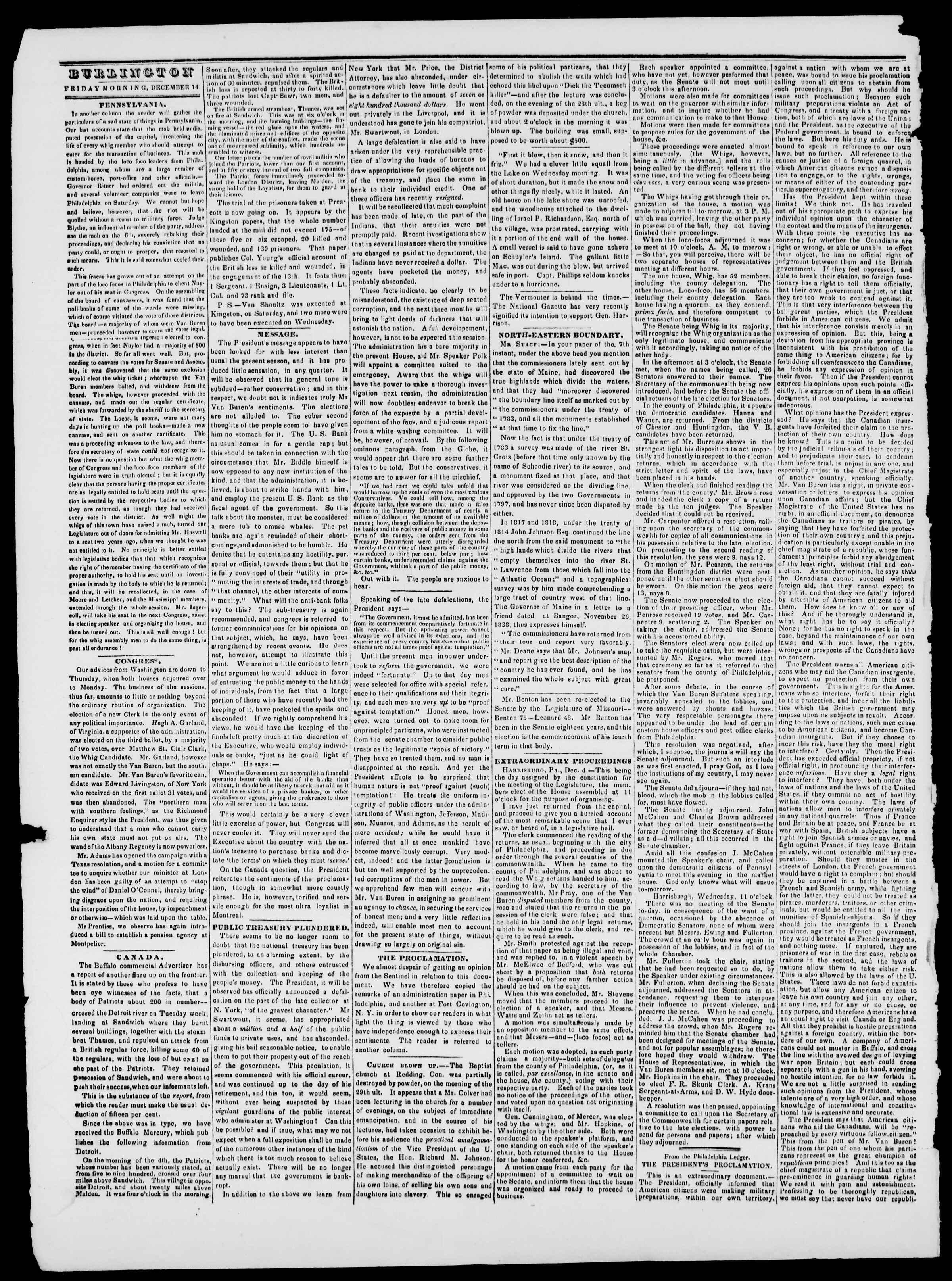 Newspaper of Burlington Free Press dated December 14, 1838 Page 2