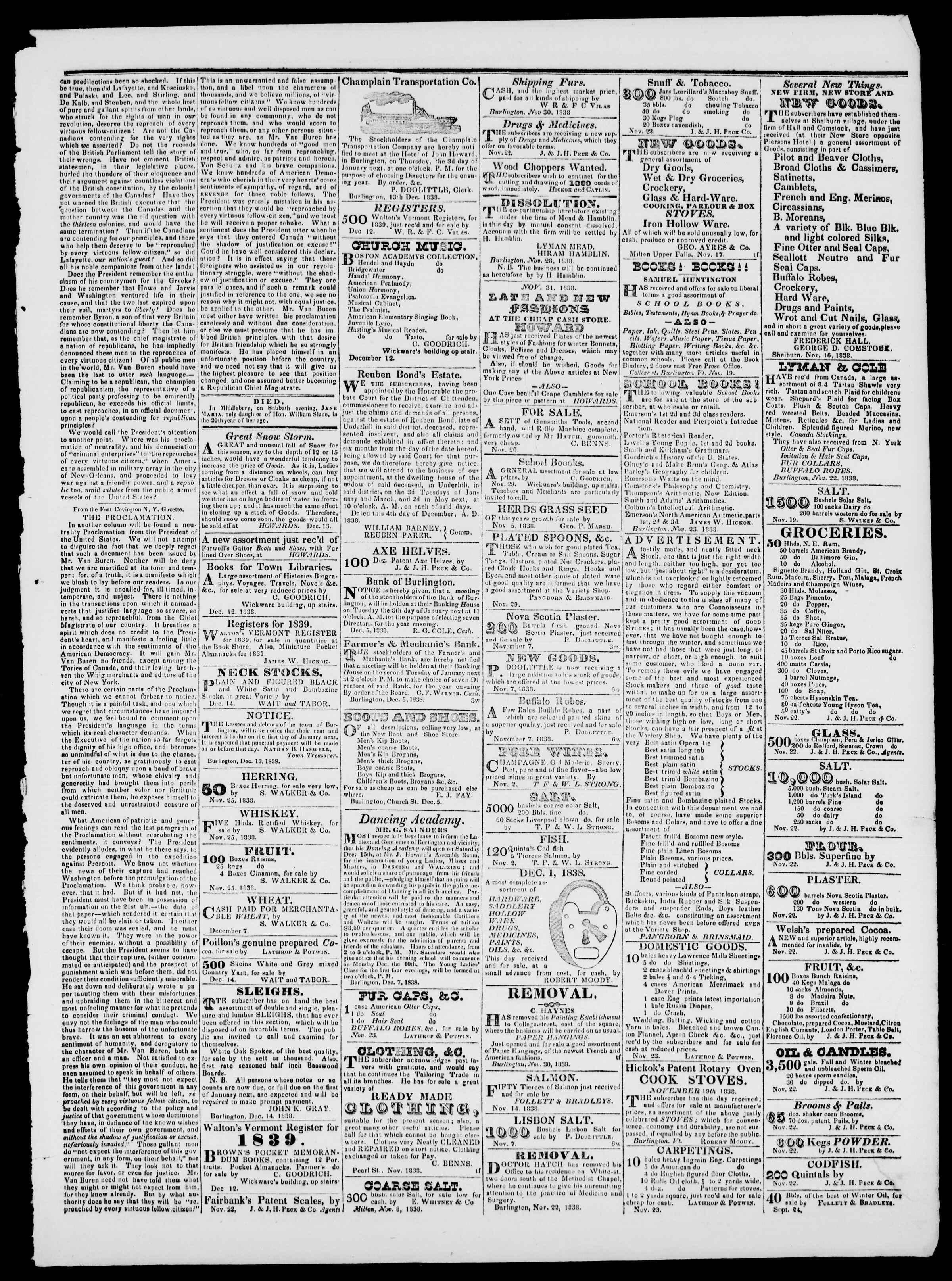 Newspaper of Burlington Free Press dated December 14, 1838 Page 3