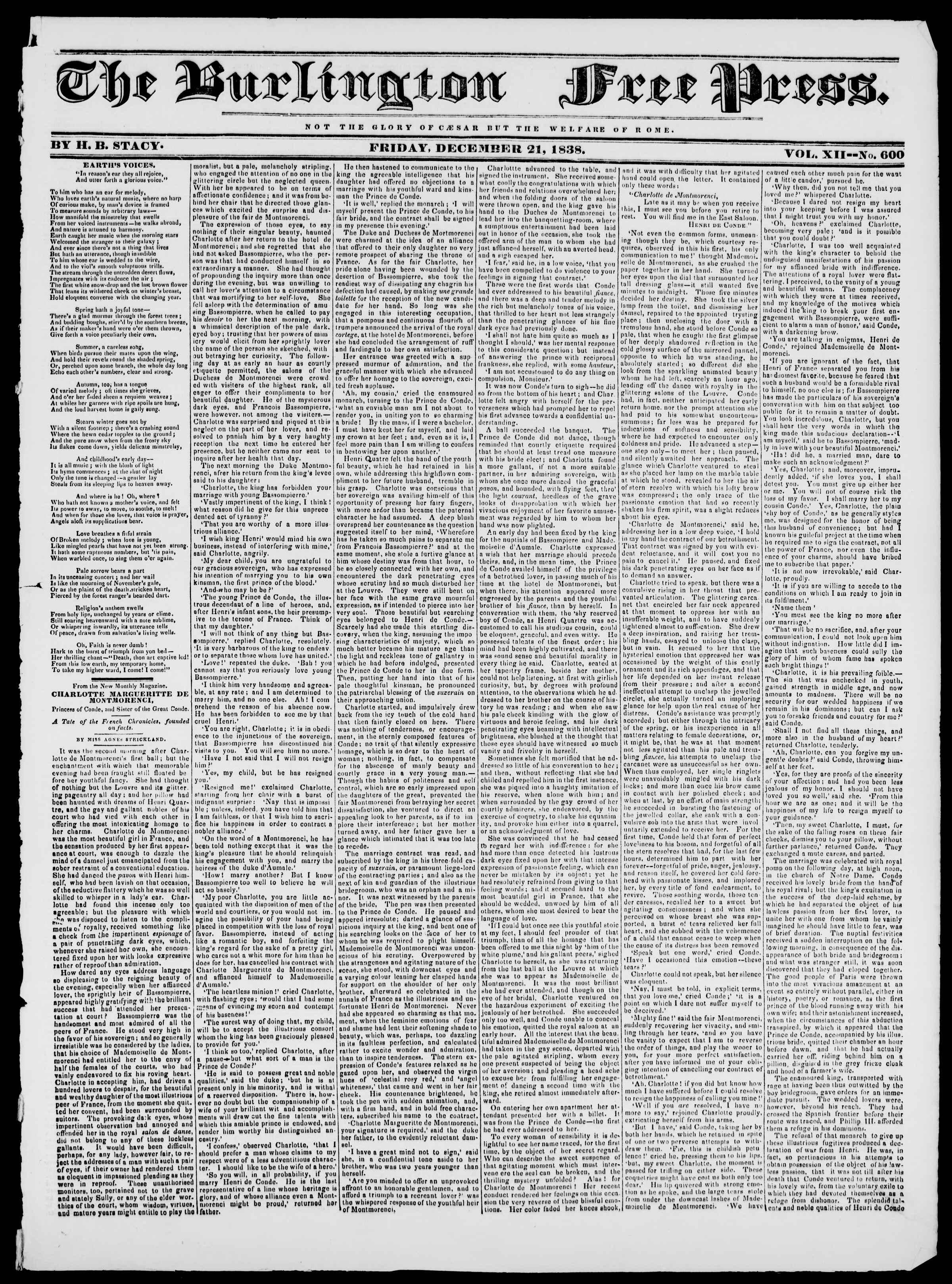 Newspaper of Burlington Free Press dated December 21, 1838 Page 1