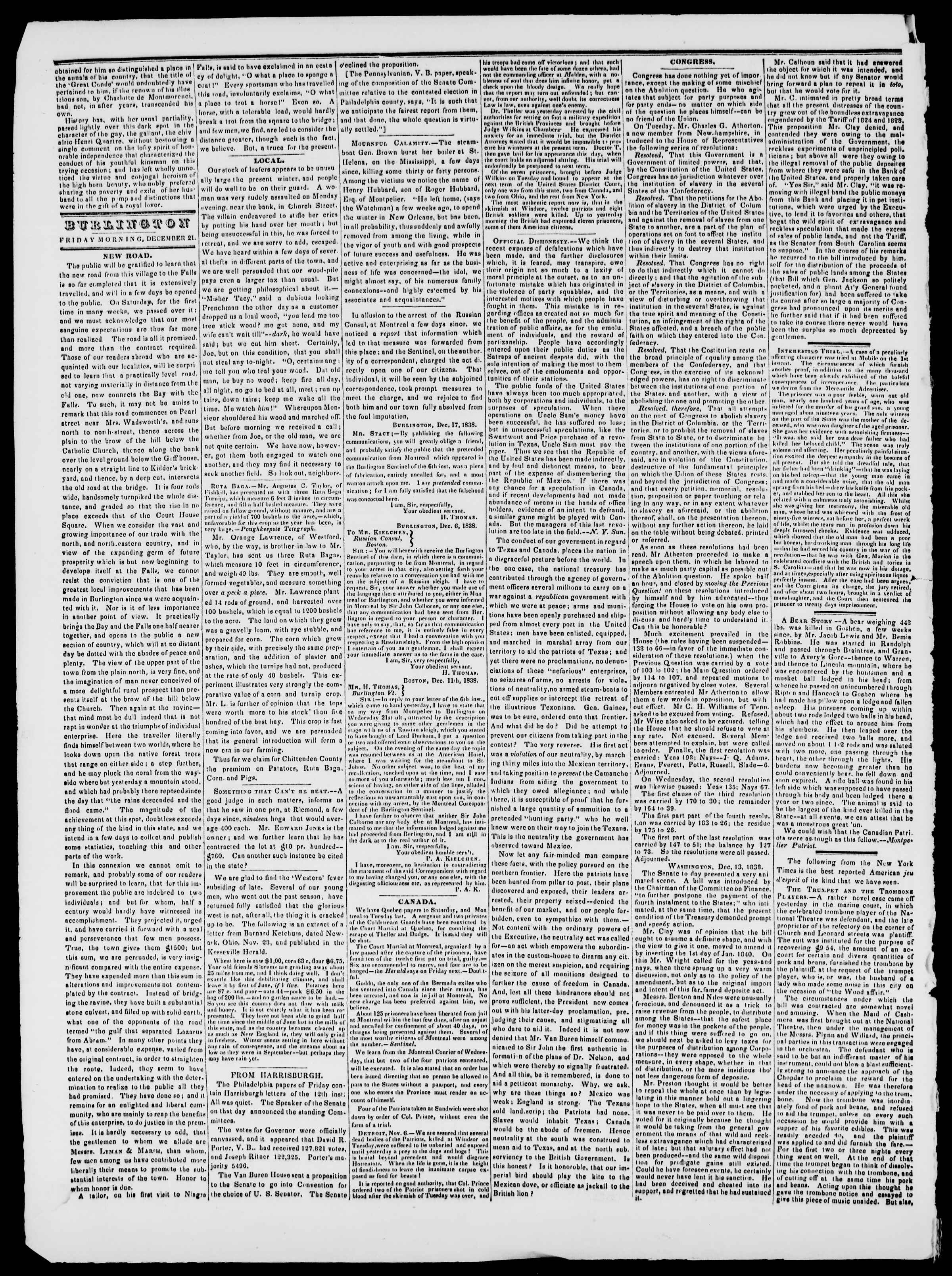 Newspaper of Burlington Free Press dated December 21, 1838 Page 2