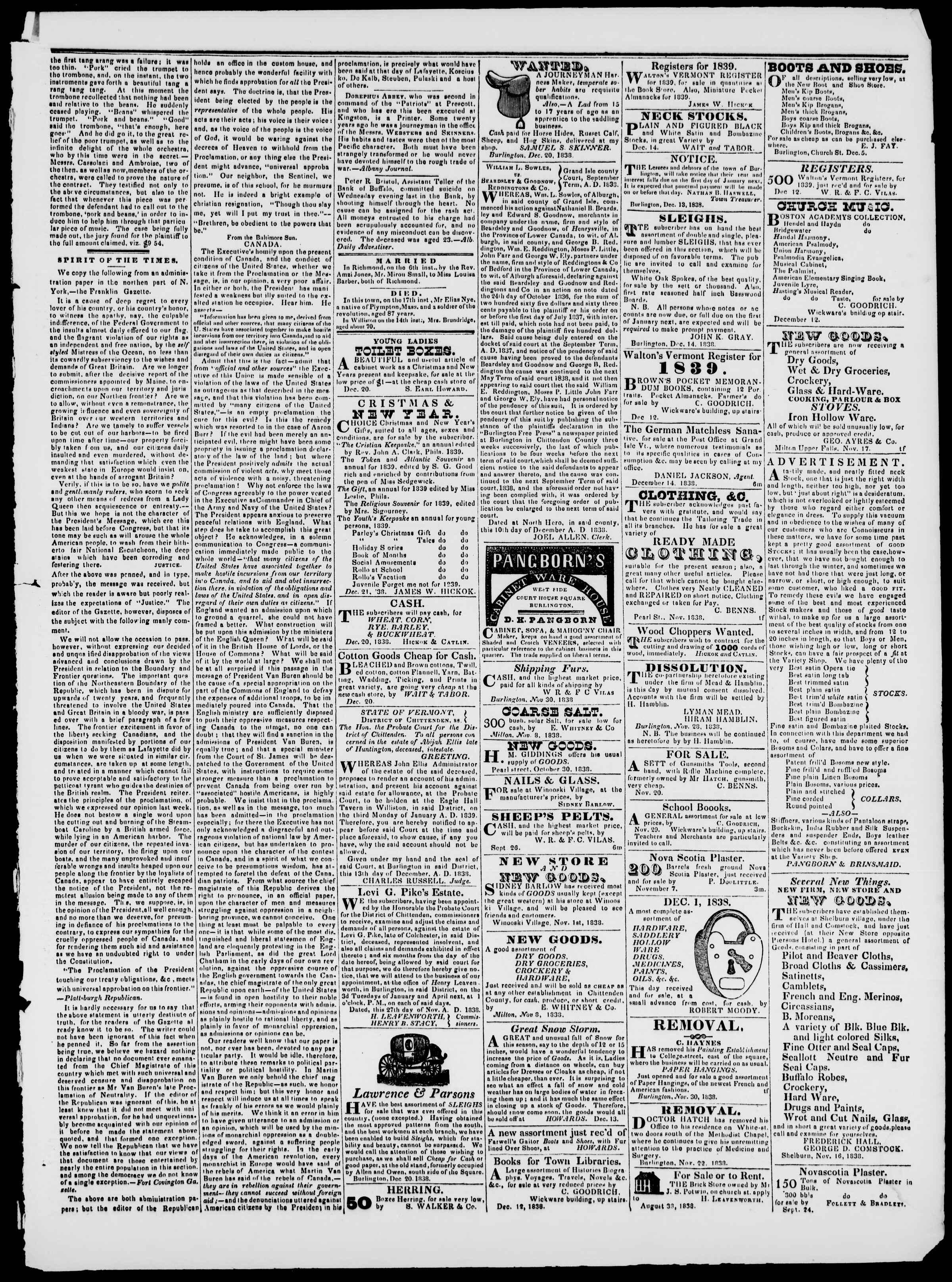 Newspaper of Burlington Free Press dated December 21, 1838 Page 3