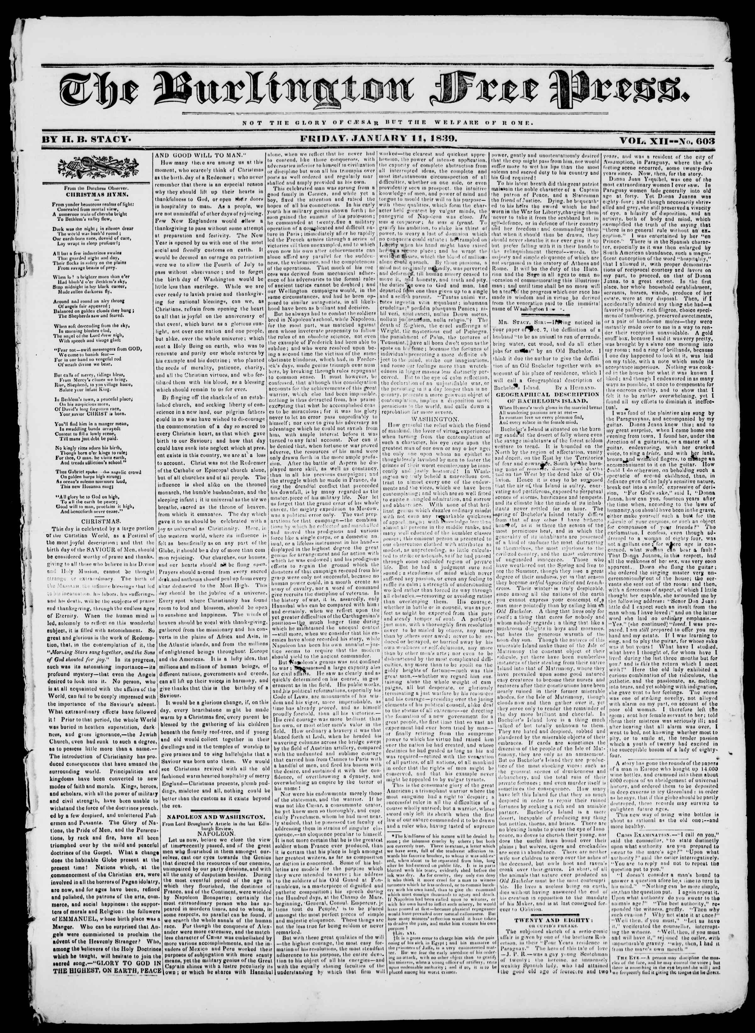 Newspaper of Burlington Free Press dated January 11, 1839 Page 1