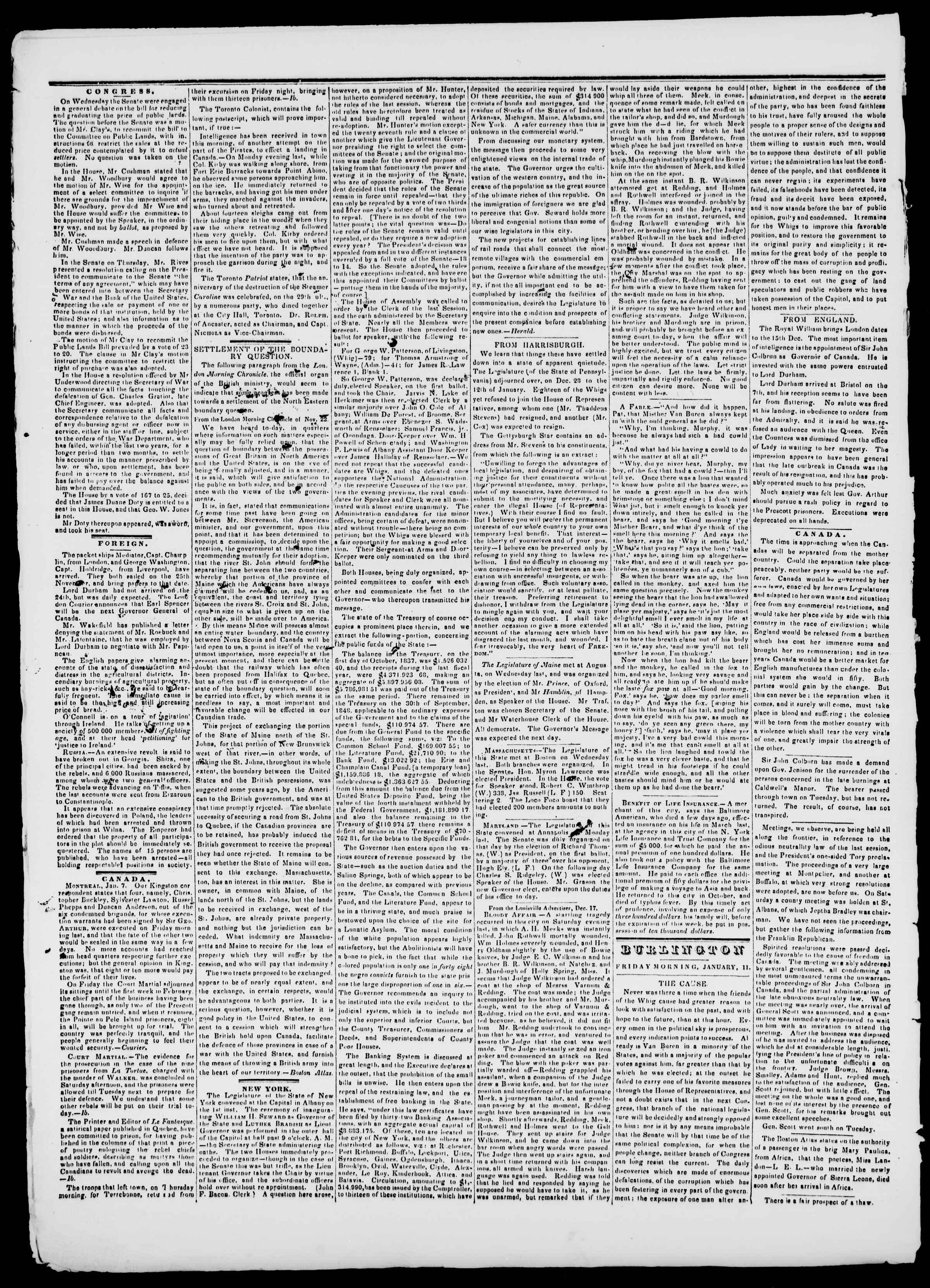 Newspaper of Burlington Free Press dated January 11, 1839 Page 2