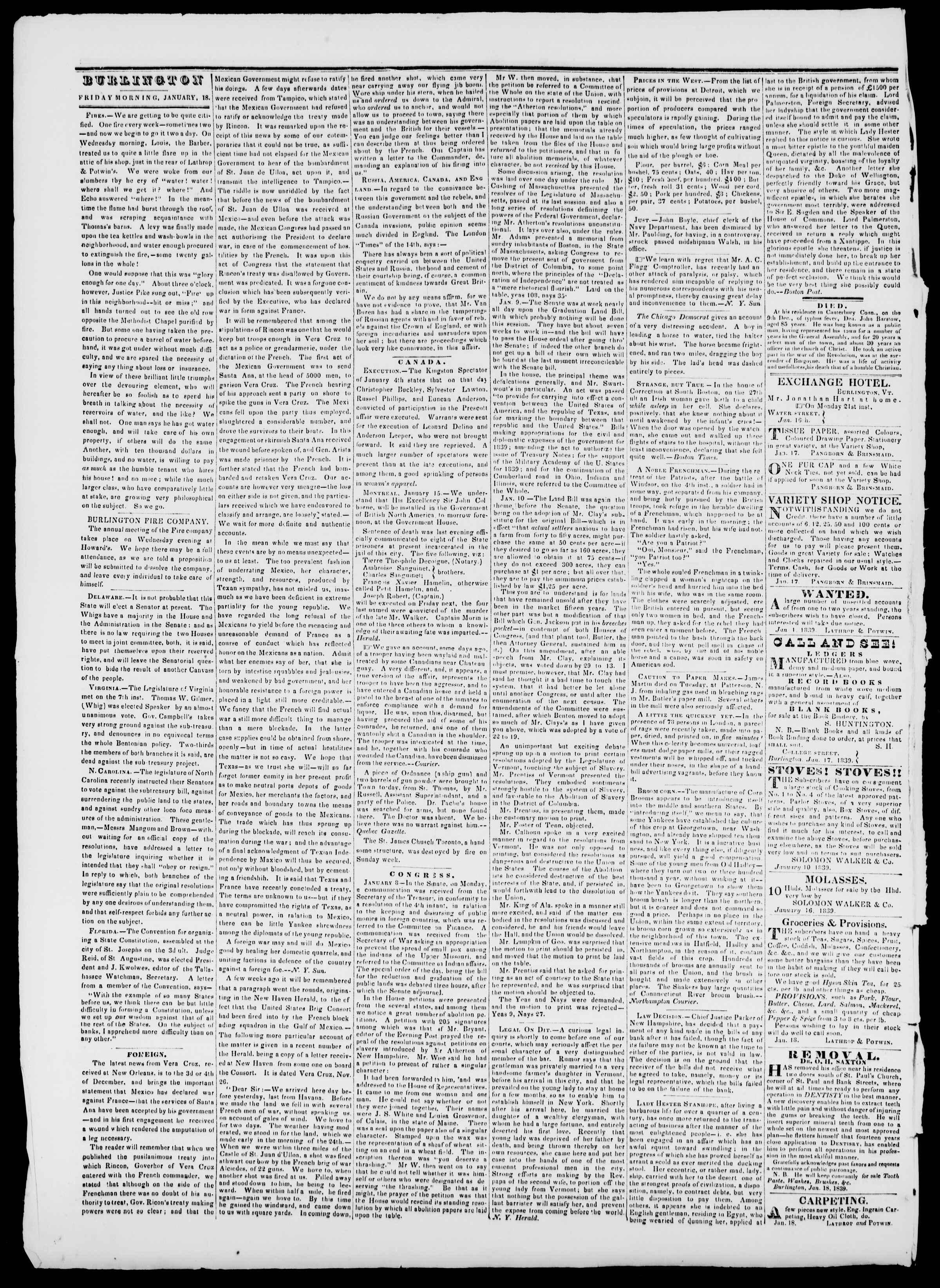 Newspaper of Burlington Free Press dated January 18, 1839 Page 2