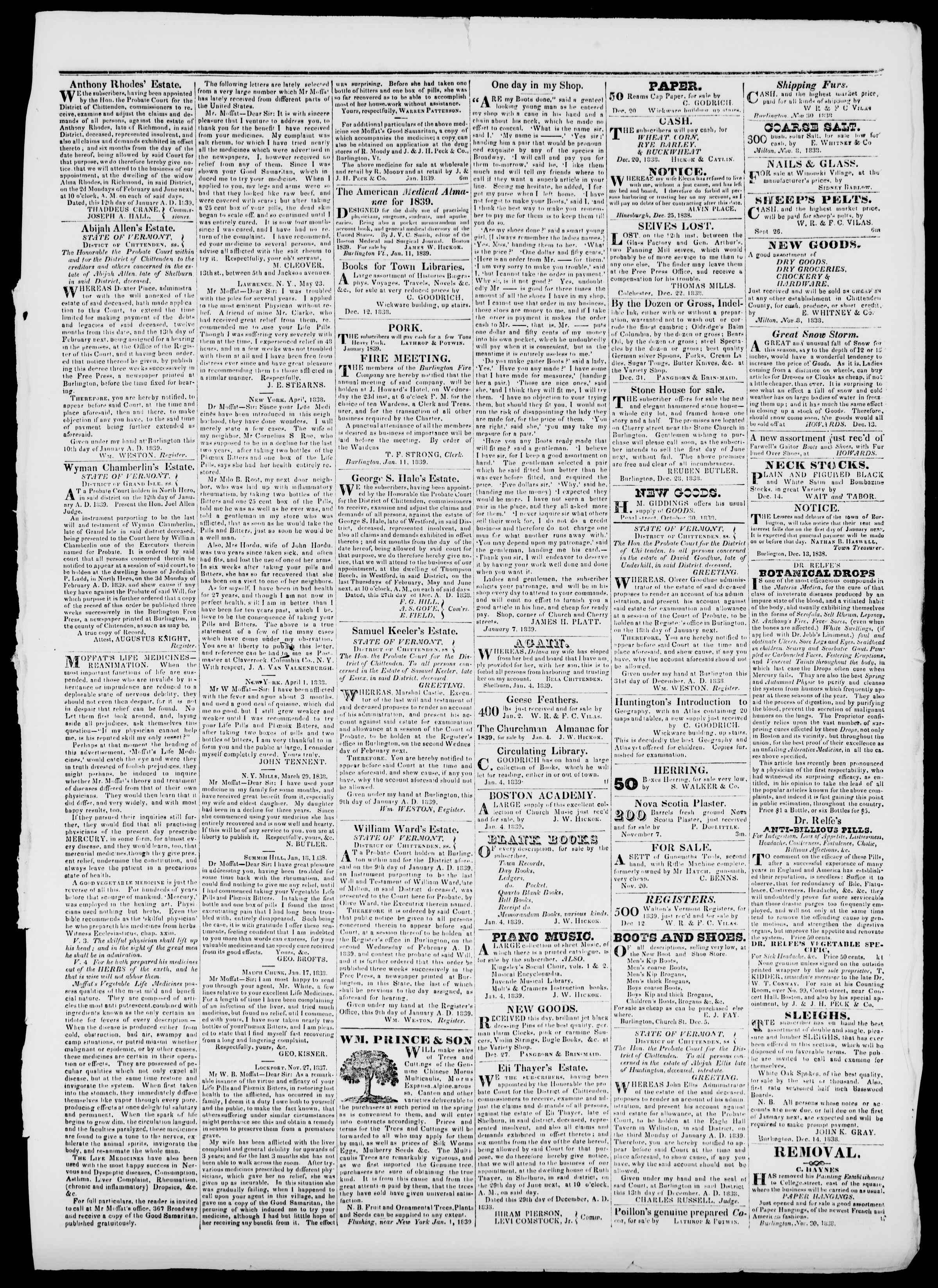 Newspaper of Burlington Free Press dated January 18, 1839 Page 3