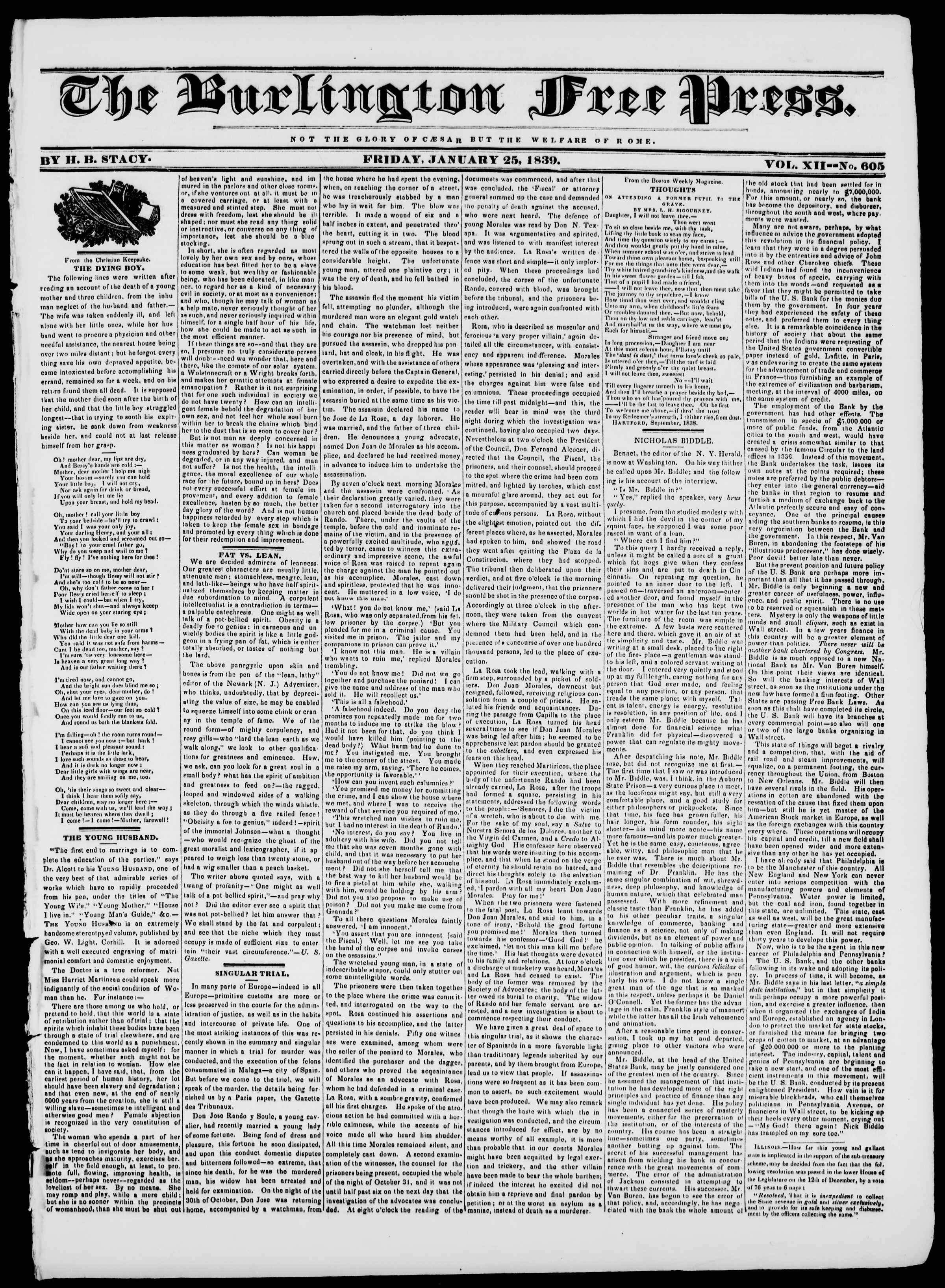 Newspaper of Burlington Free Press dated January 25, 1839 Page 1