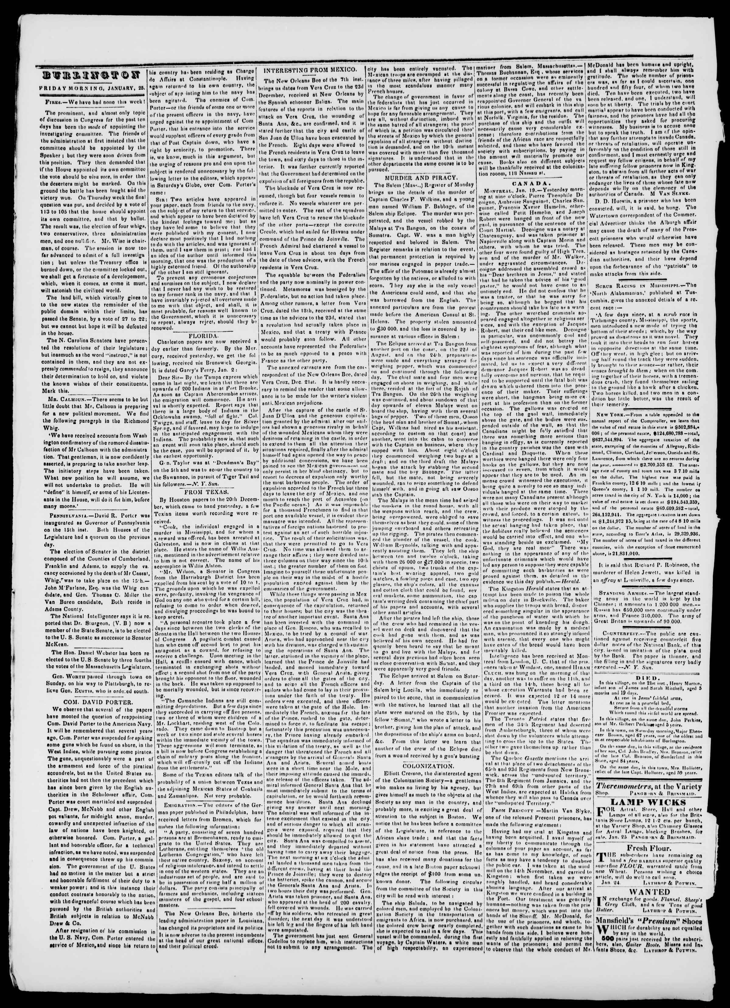 Newspaper of Burlington Free Press dated January 25, 1839 Page 2
