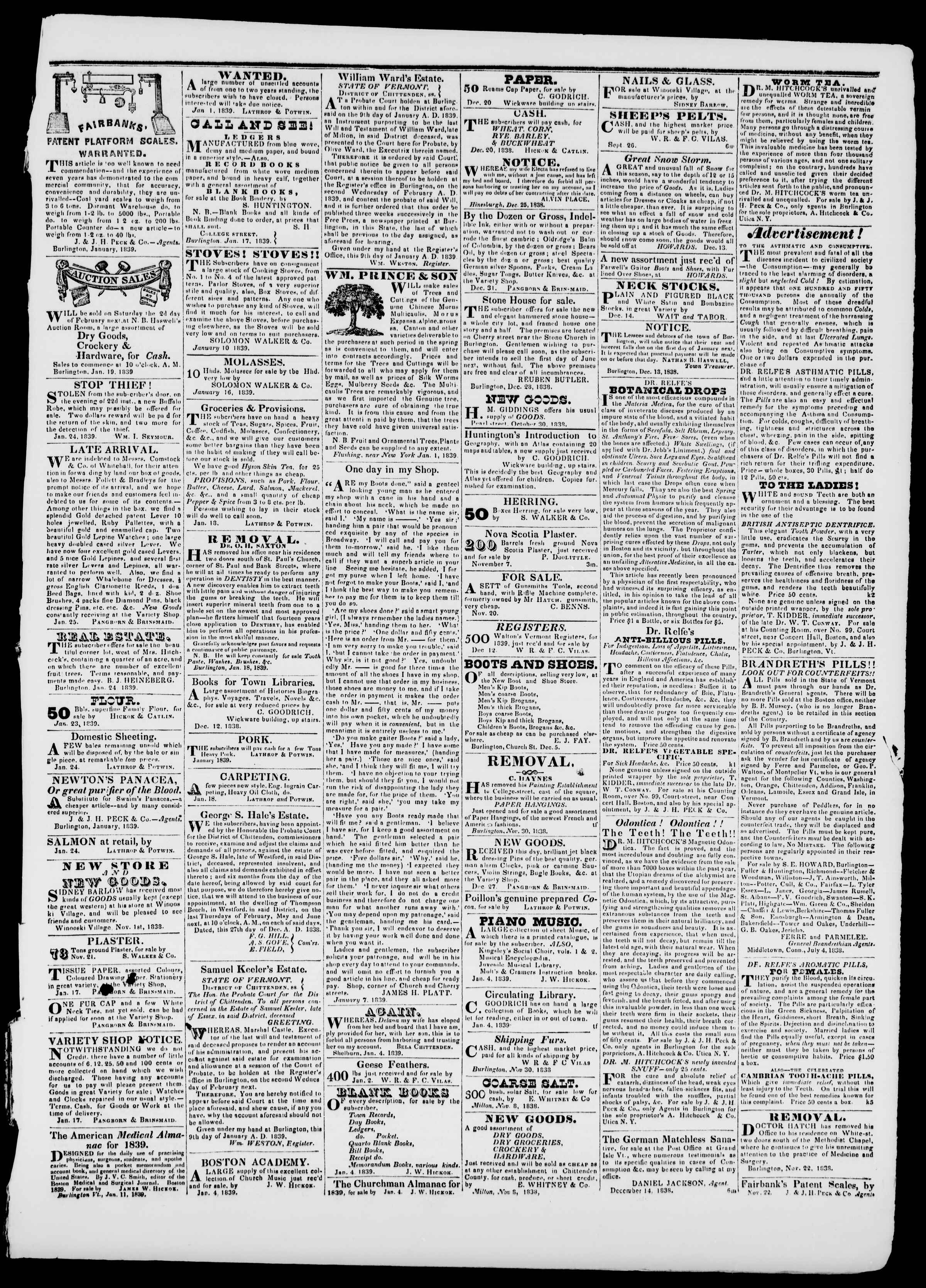 Newspaper of Burlington Free Press dated January 25, 1839 Page 3