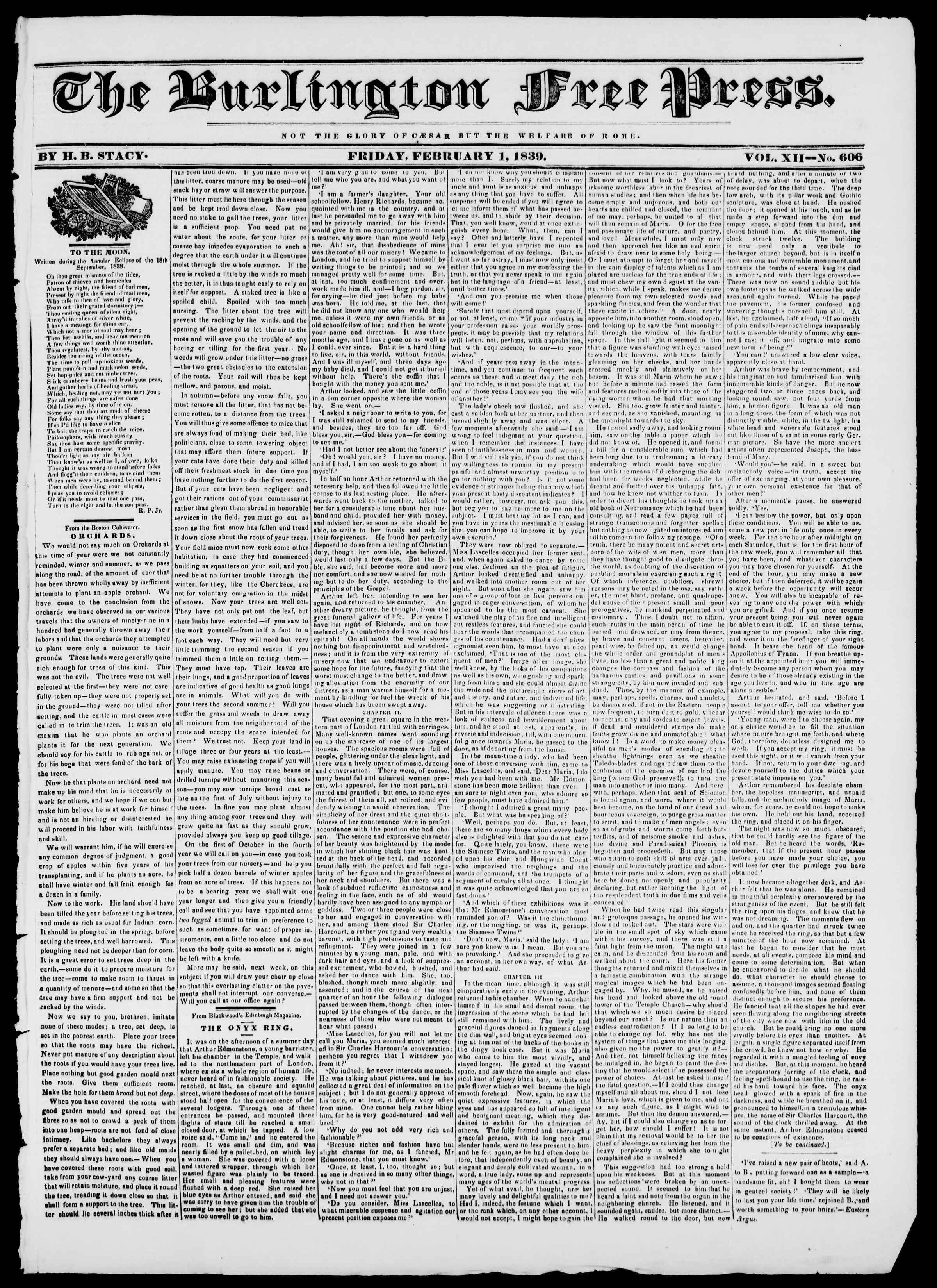 1 Şubat 1839 tarihli Burlington Free Press Gazetesi Sayfa 1