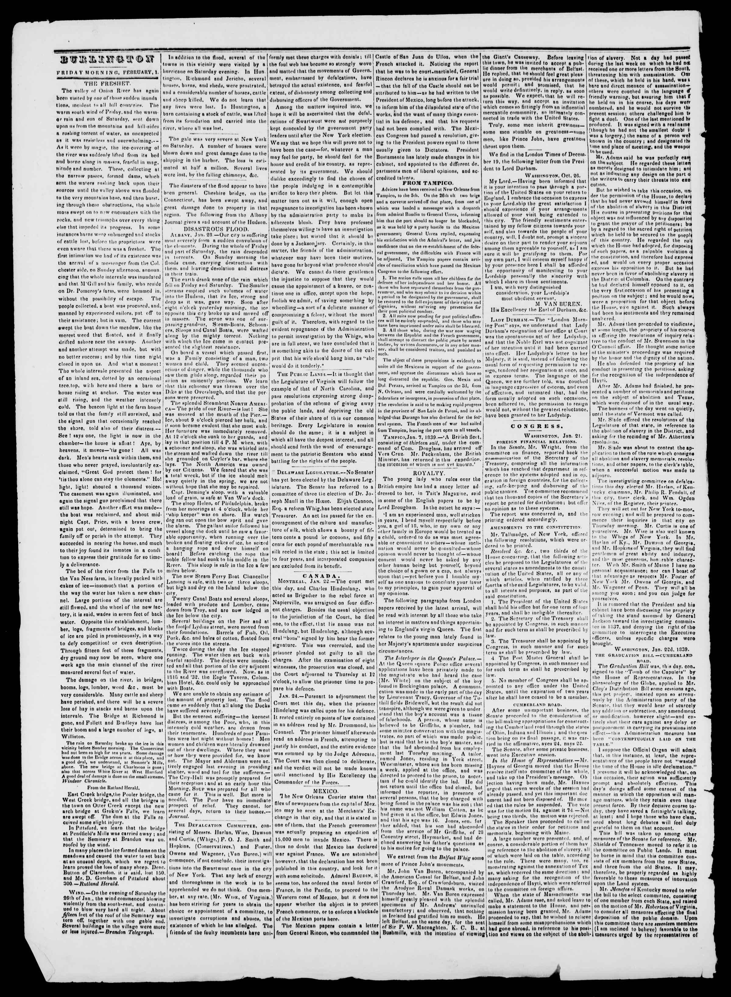 Newspaper of Burlington Free Press dated February 1, 1839 Page 2