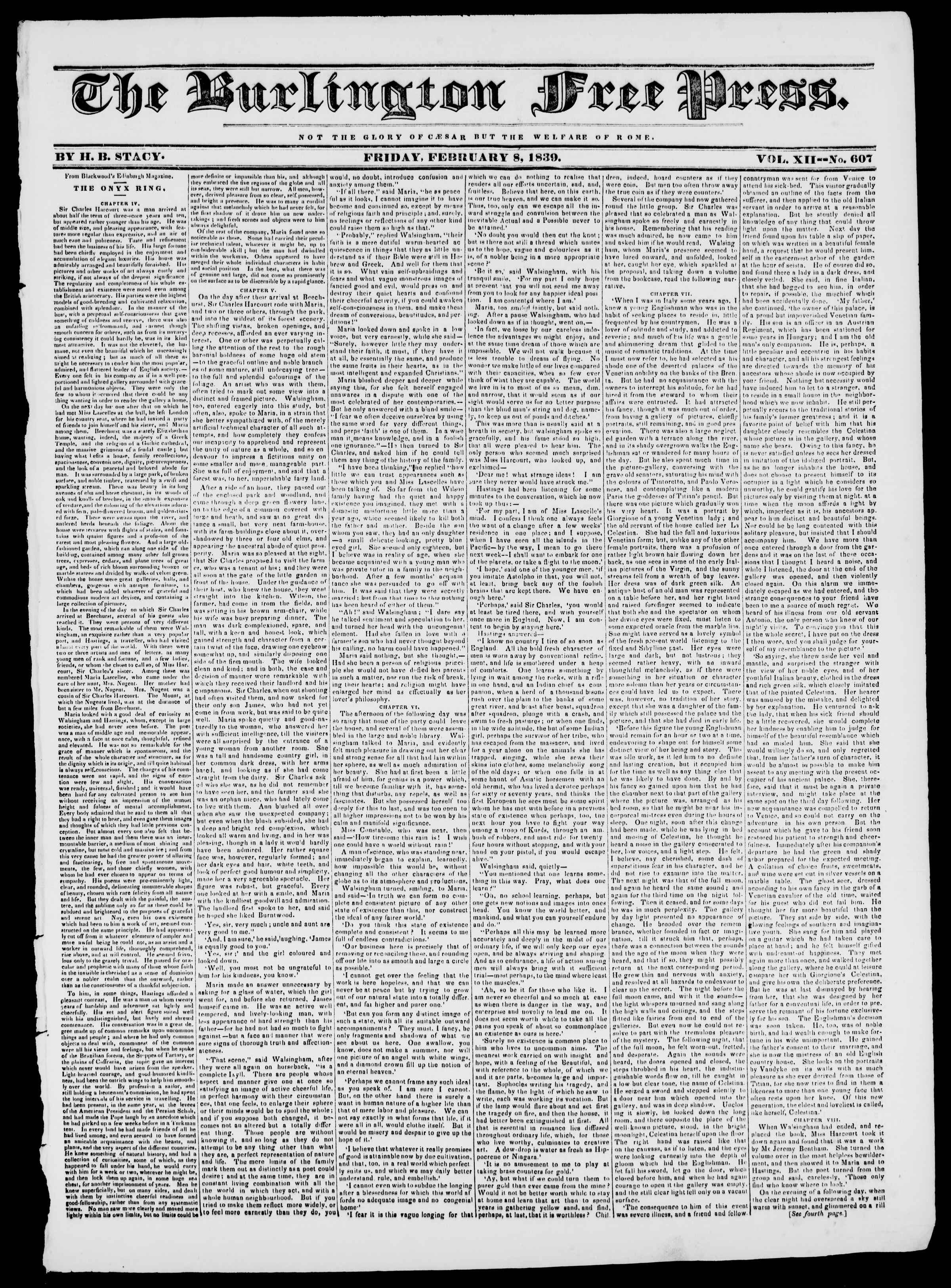 Newspaper of Burlington Free Press dated 8 Şubat 1839 Page 1