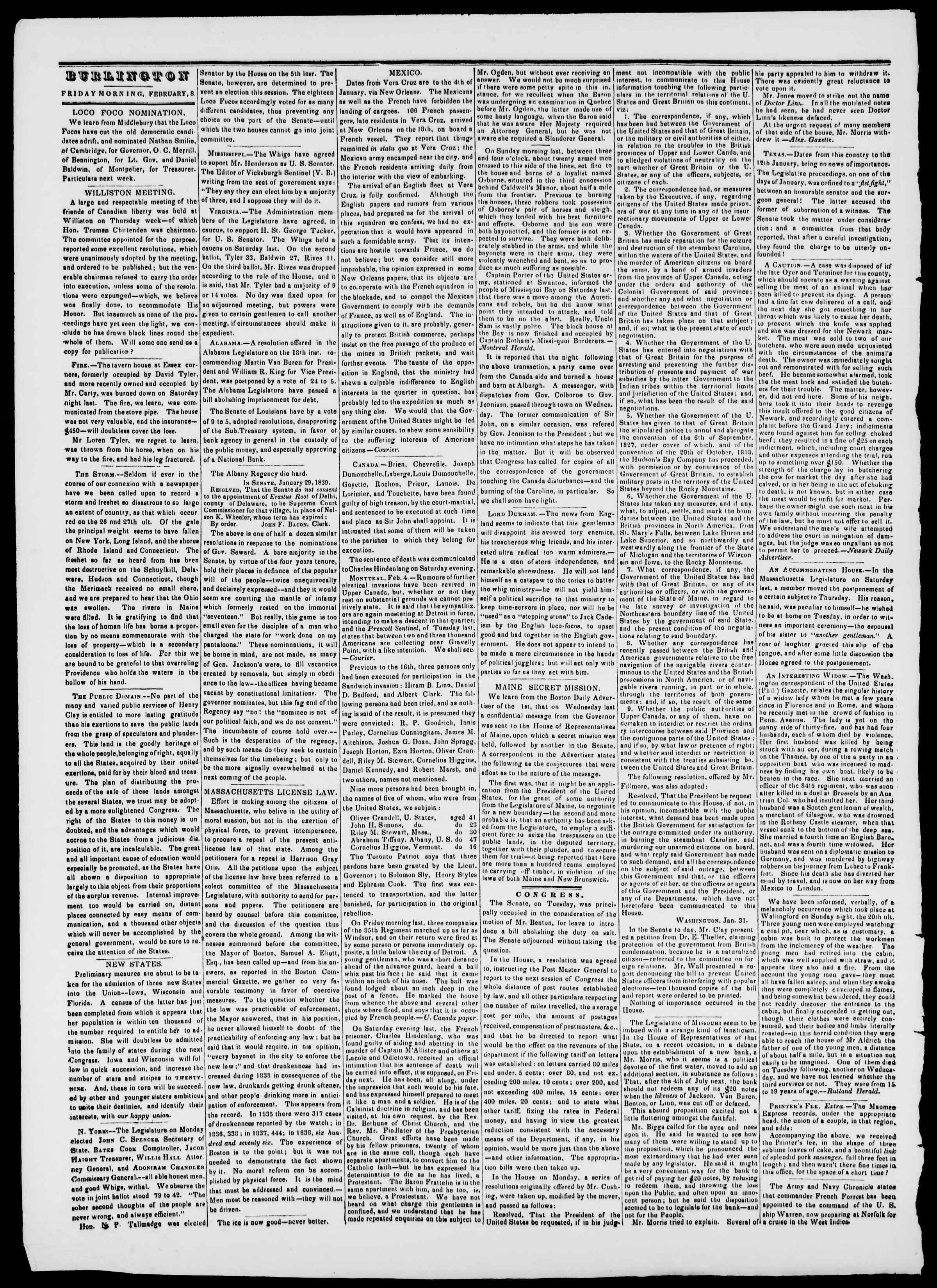 Newspaper of Burlington Free Press dated February 8, 1839 Page 2