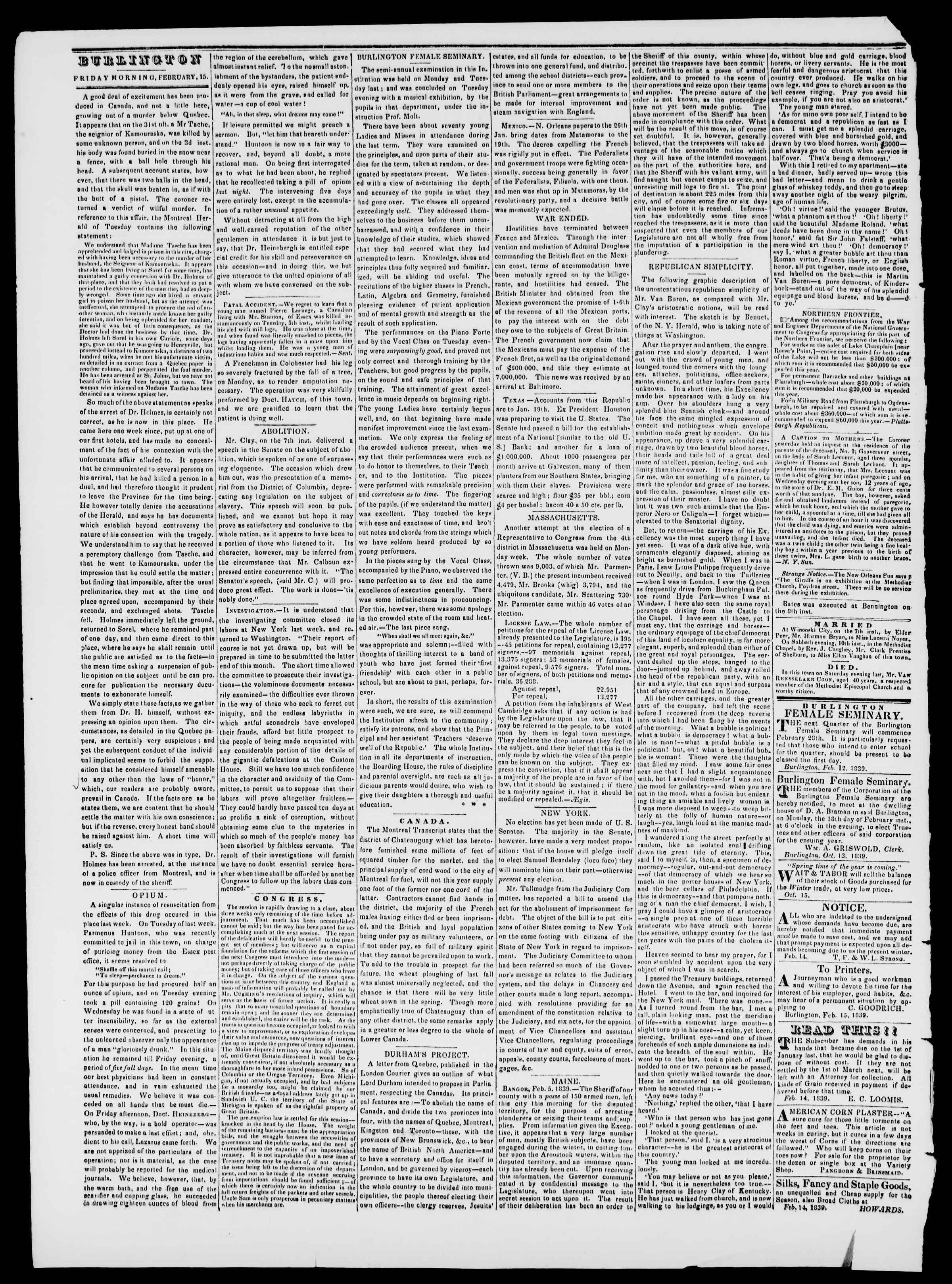 Newspaper of Burlington Free Press dated February 15, 1839 Page 2