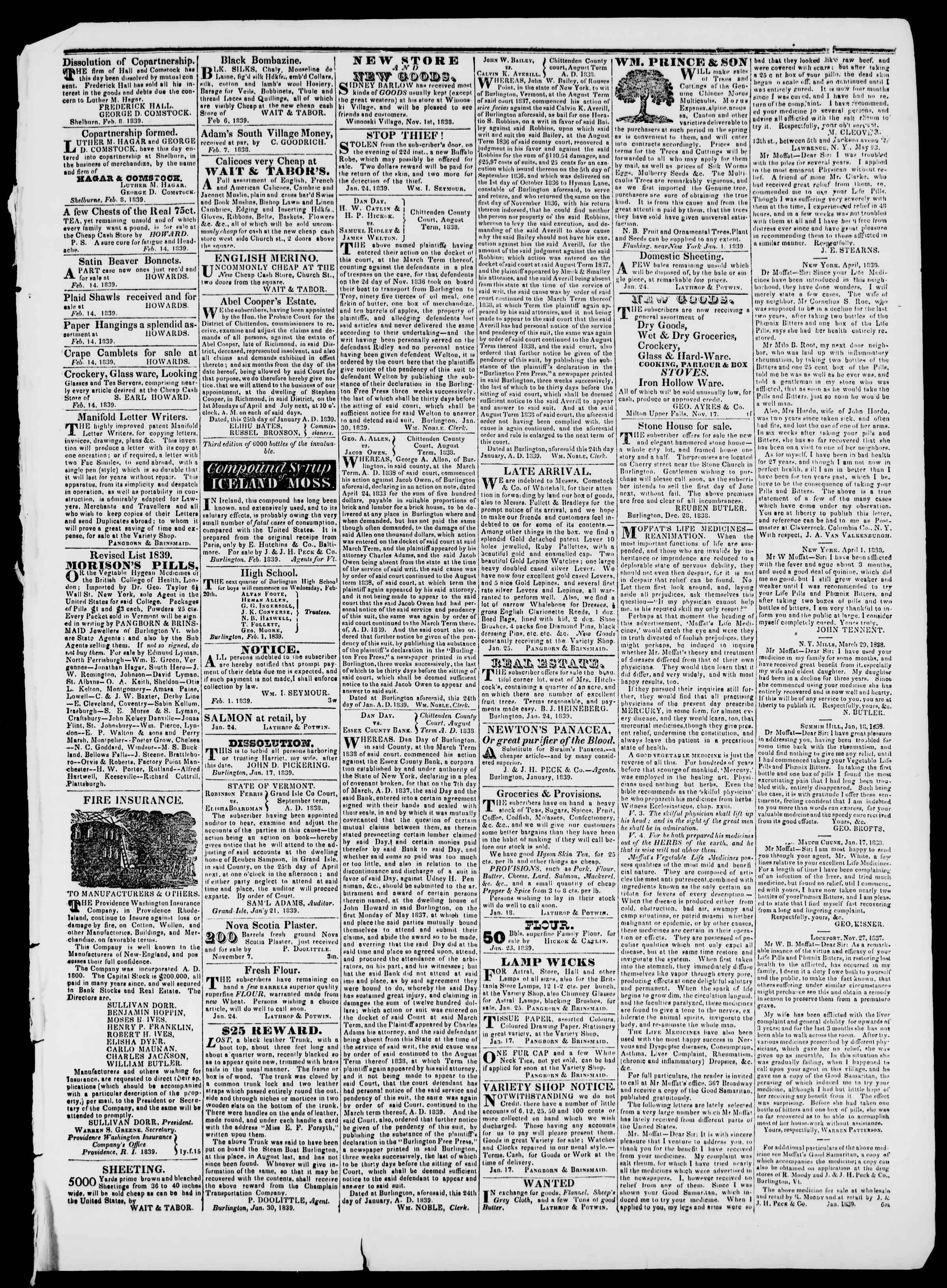 Newspaper of Burlington Free Press dated February 15, 1839 Page 3