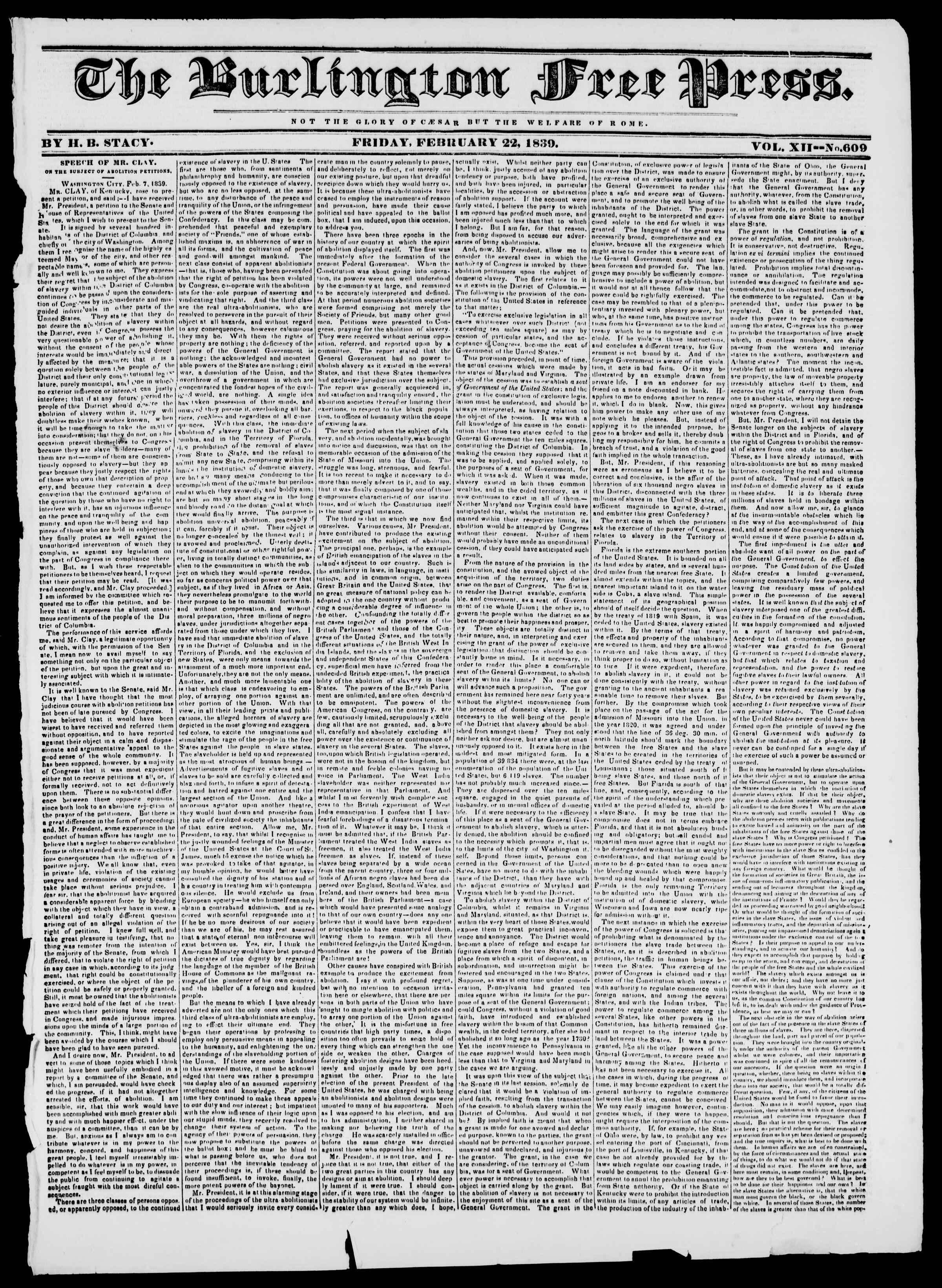 22 Şubat 1839 tarihli Burlington Free Press Gazetesi Sayfa 1