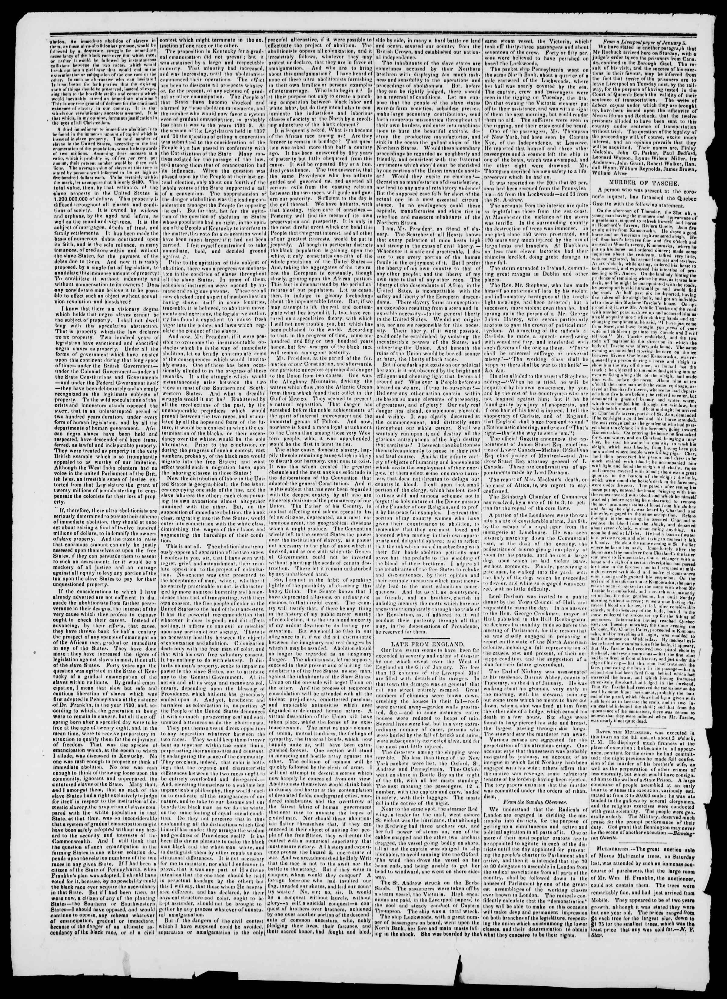 Newspaper of Burlington Free Press dated February 22, 1839 Page 2