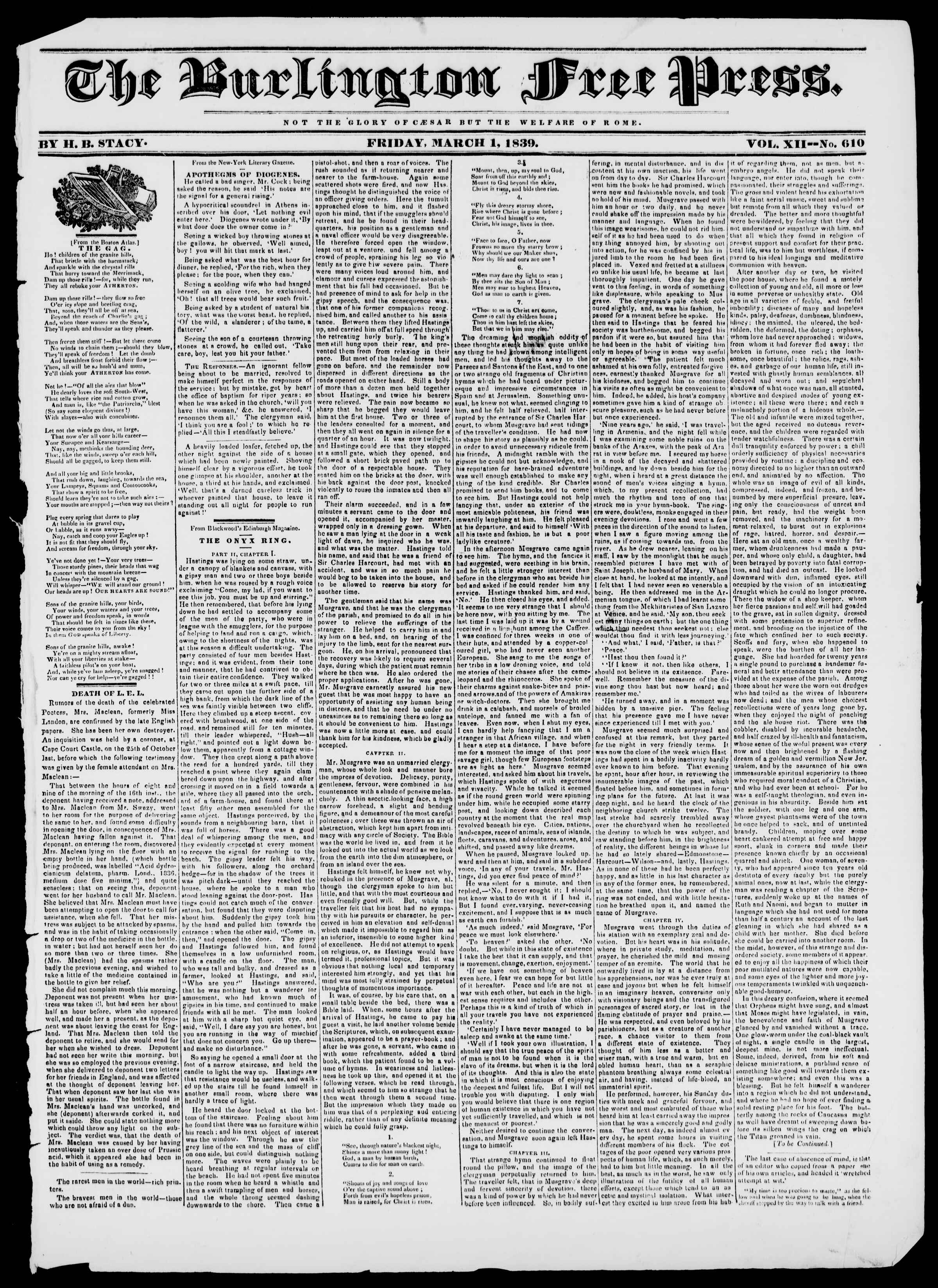 Newspaper of Burlington Free Press dated March 1, 1839 Page 1