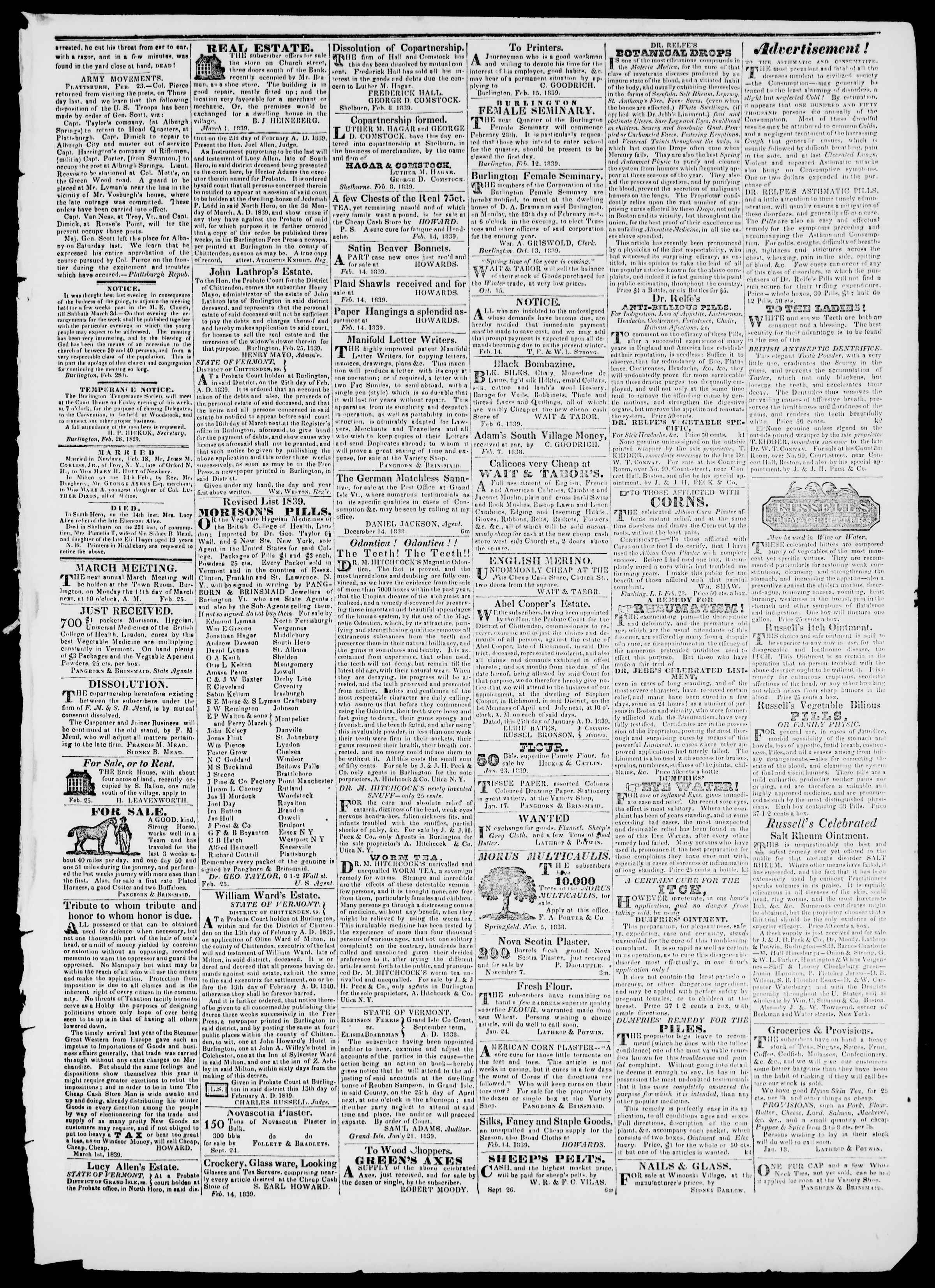 Newspaper of Burlington Free Press dated March 1, 1839 Page 3